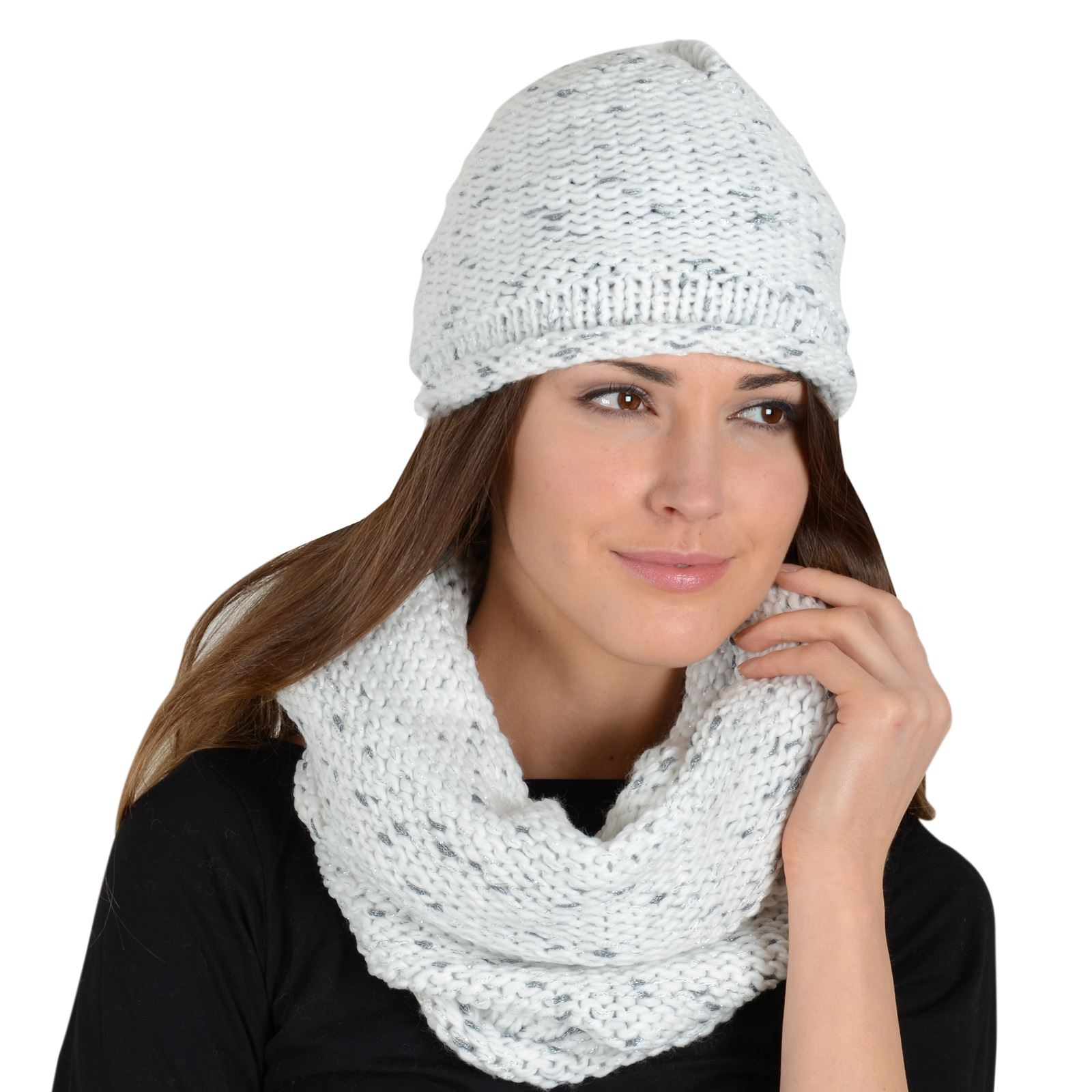 99d6d34682604e Details about Pia Rossini Ladies Khloe Womens Beret Hat And Snood Ivory  Knit Sparkle Thread