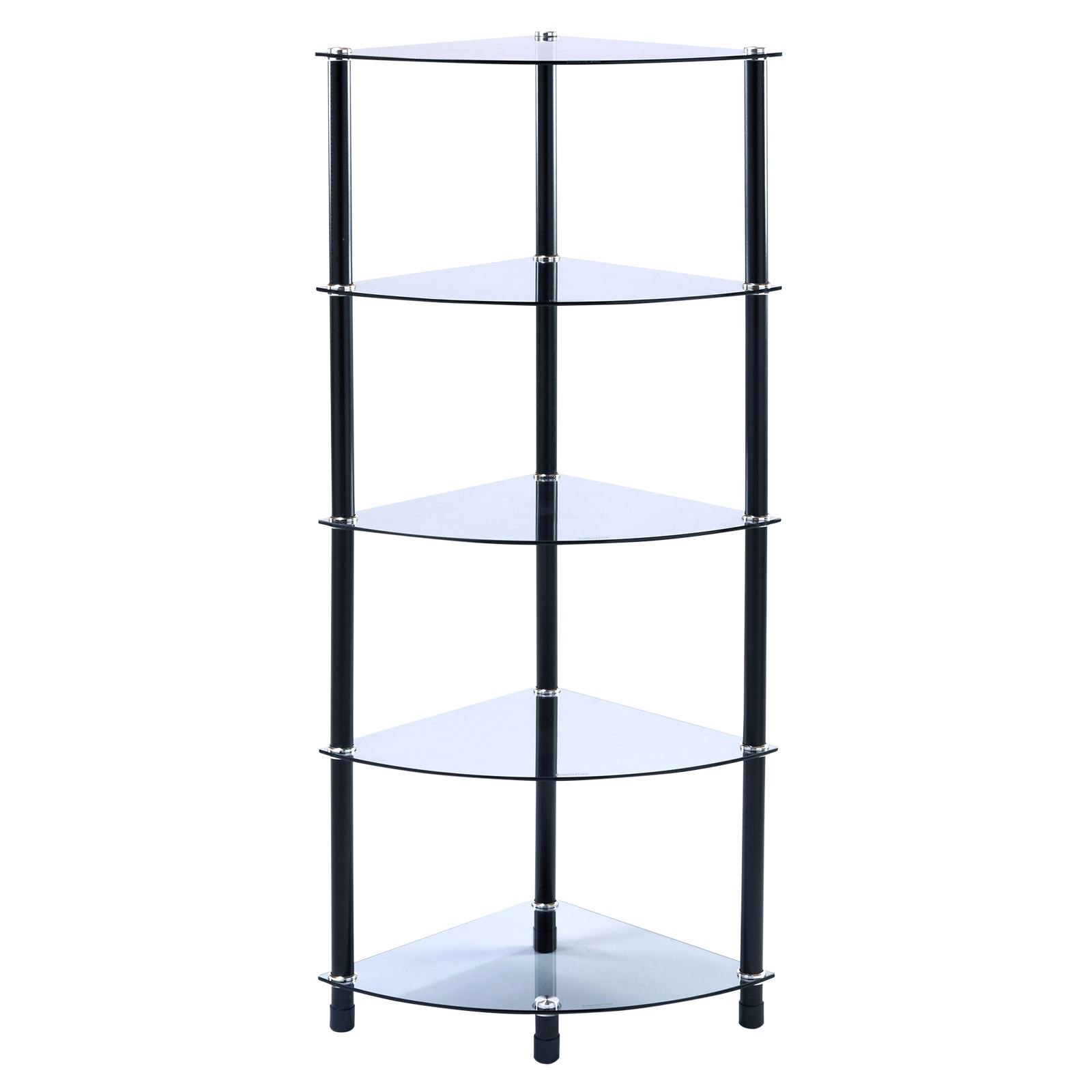 Glass Corner Shelf Shelving Unit Display Hall Lamp