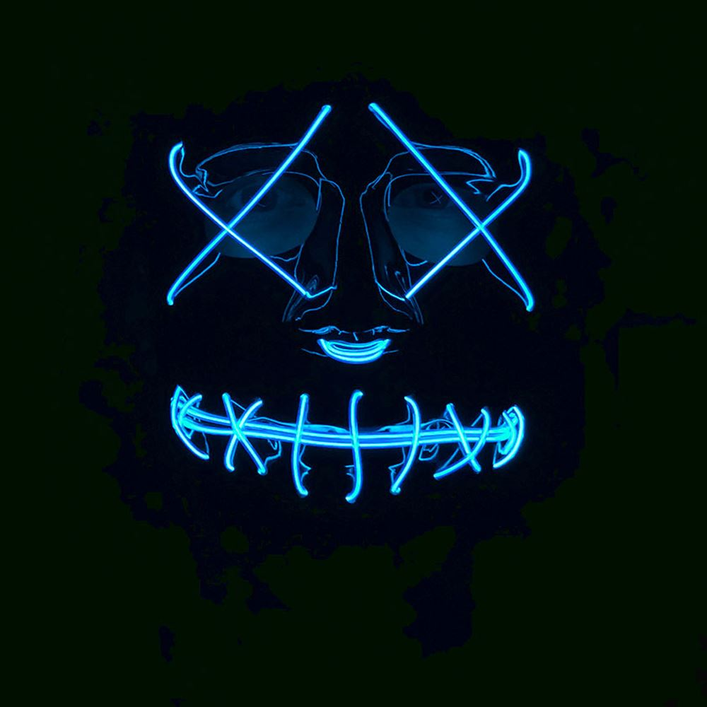 Adults-Neon-Light-Up-Mask-LED-EL-Wire-Purge-Halloween-Festival-Fancy-Dress thumbnail 3