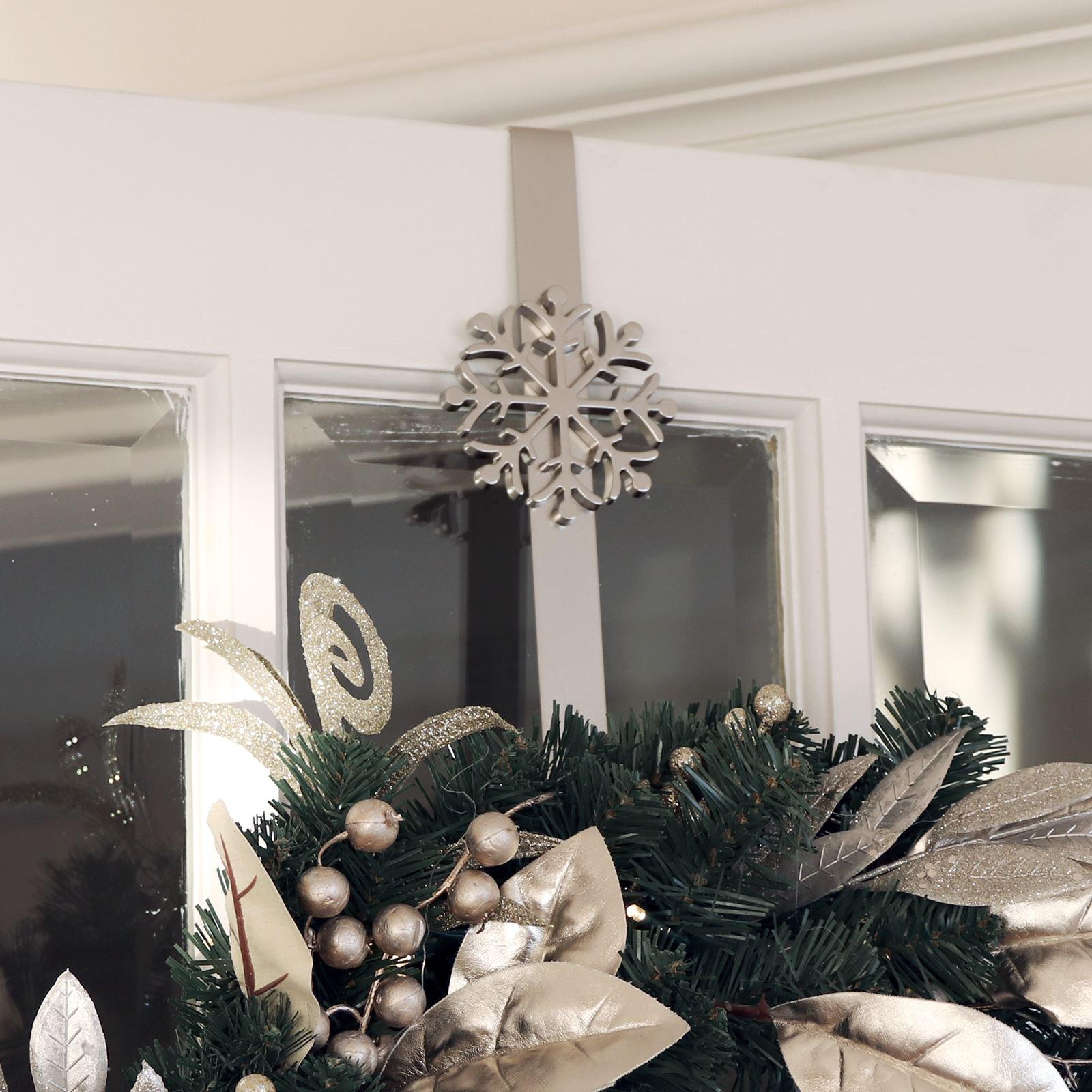 Christmas Wreath Hanger Over Door Hook Silver Metal Decoration 35cm