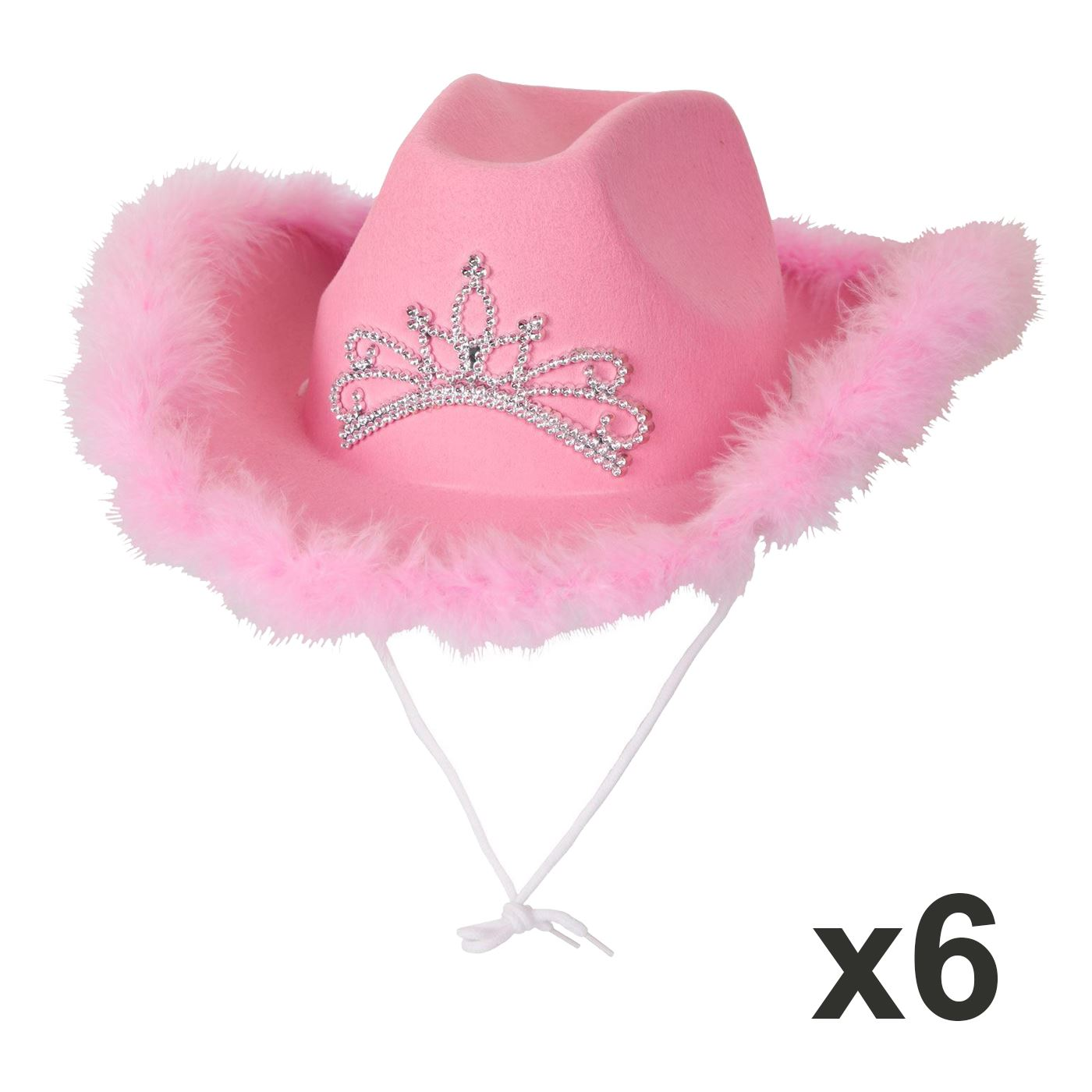 6cd5bd1d18a Details about Pack Of 6 Cowboy Hat Pink Feather Cowgirl Hen Night Fancy  Dress Party Halloween