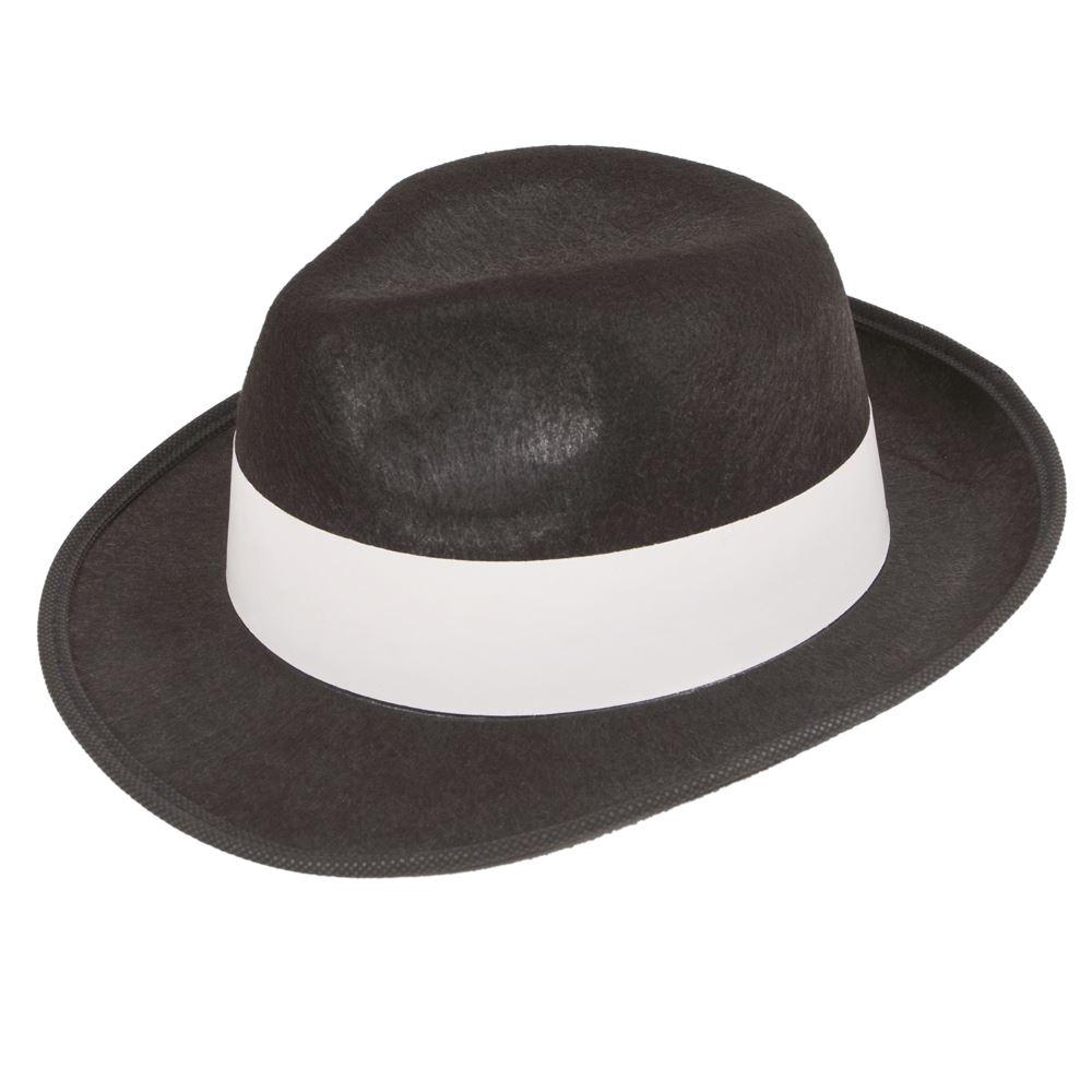 acf15239d5a Black Felt Gangster 1940 s Al Capone Detective Film Noir New York Mafia Hat