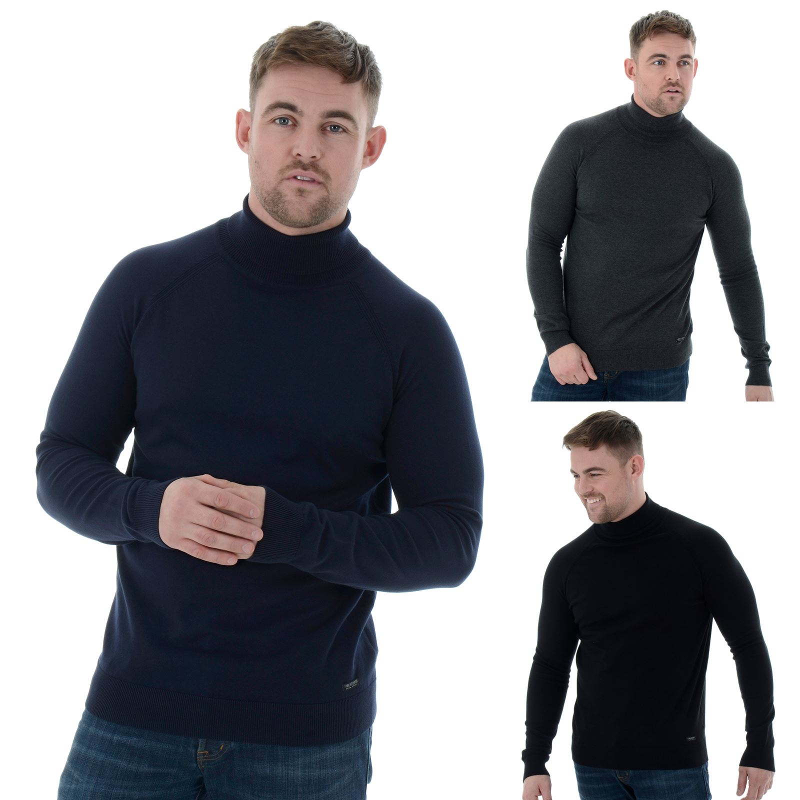 f0c32c9609 Details about Mens Threadbare Polo Roll Neck Sweater Long Sleeve Cotton  Jumper S-XXL (Logan)
