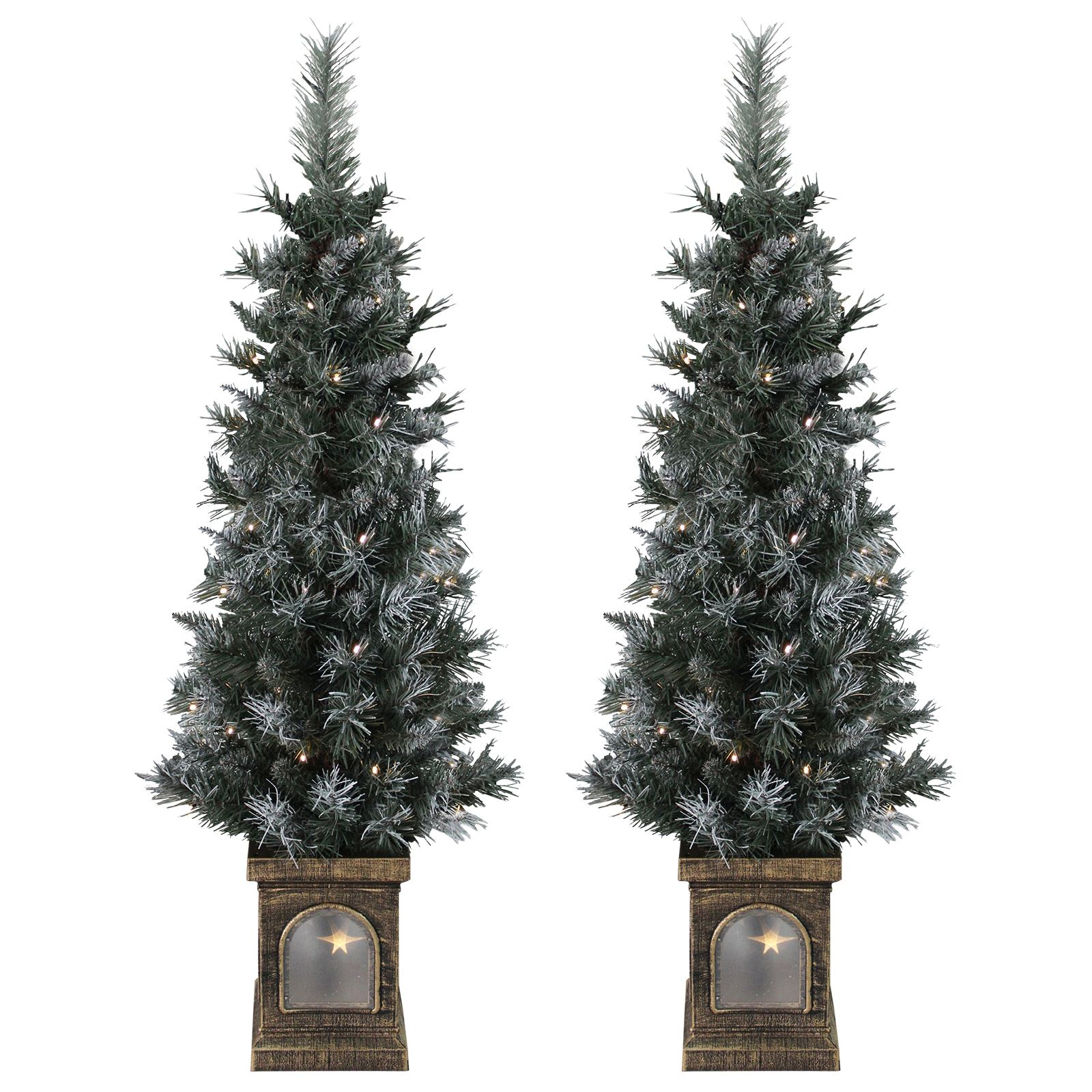 Pre Lit Outdoor Christmas Trees Battery Operated.Details About Battery Operated Set Of 2 Pre Lit 4ft 120cm Frosted Christmas Pathway Trees