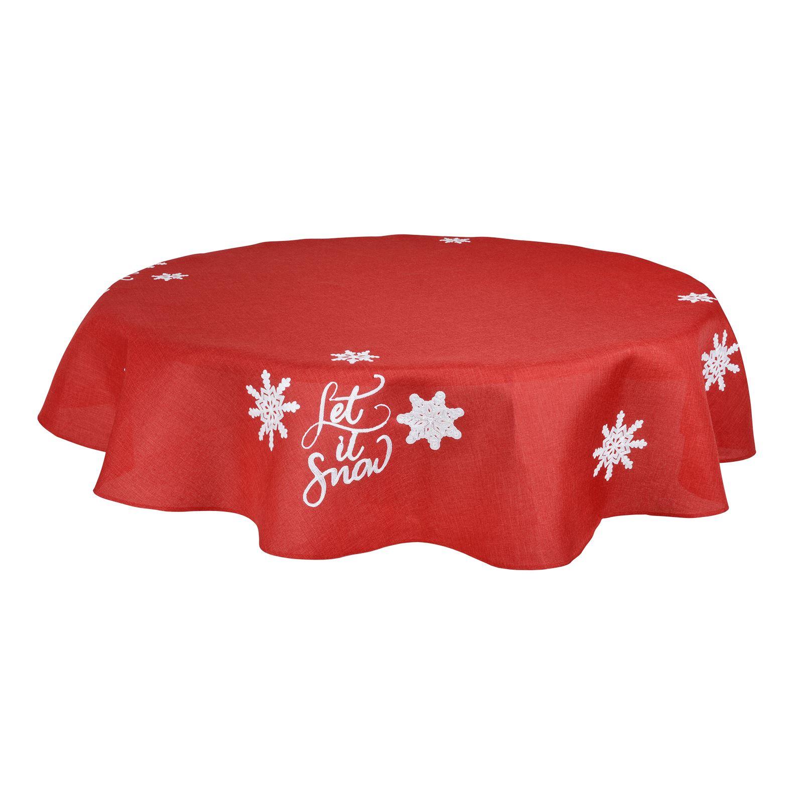 Christmas-Tablecloth-Festive-Pattern-Rectangle-Round-Fabric-Xmas-Room-Decoration Indexbild 107