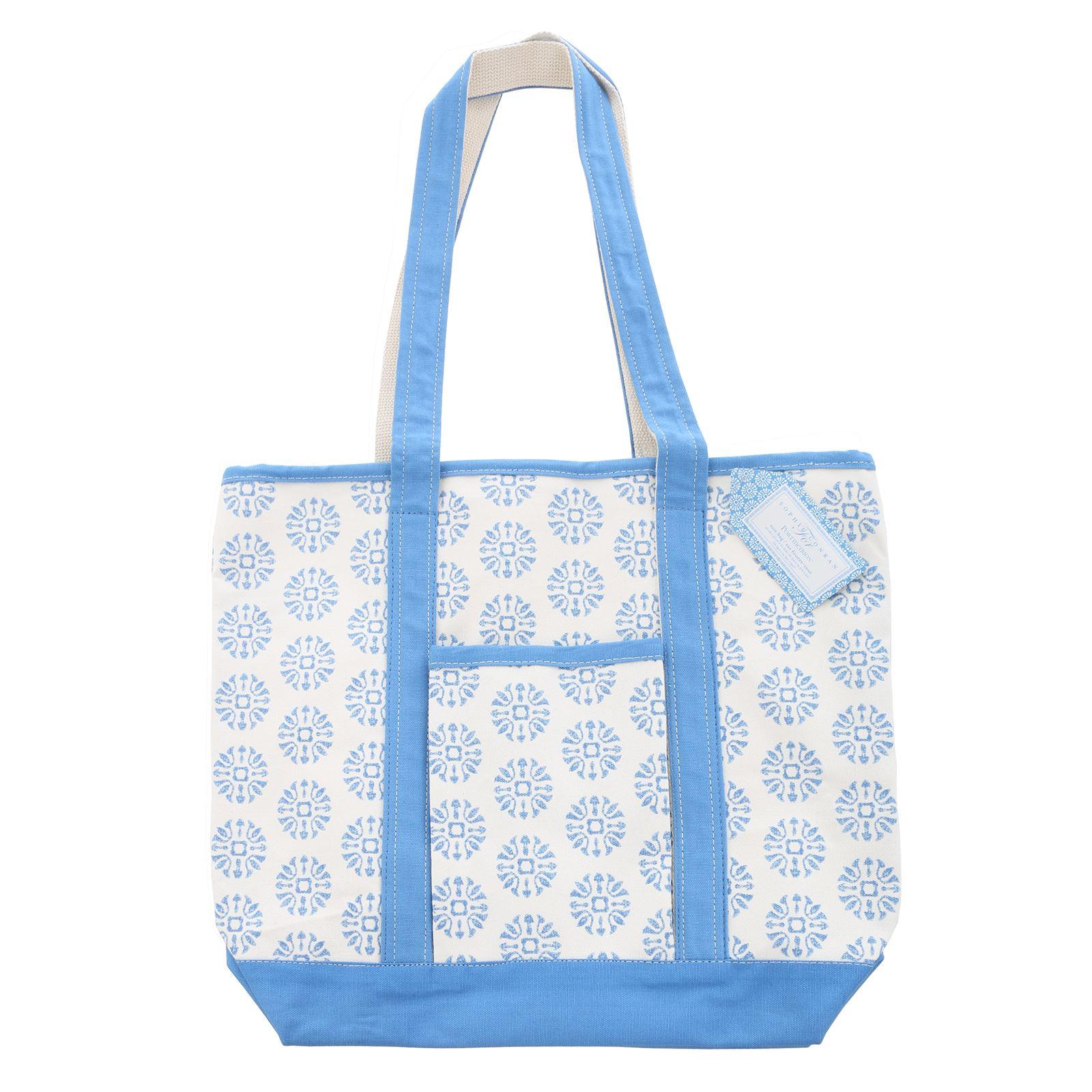 Details about Sophie Conran Womens Tote Bag Beach Shopper Poermerion Blue  White Cotton afcb6b59eb