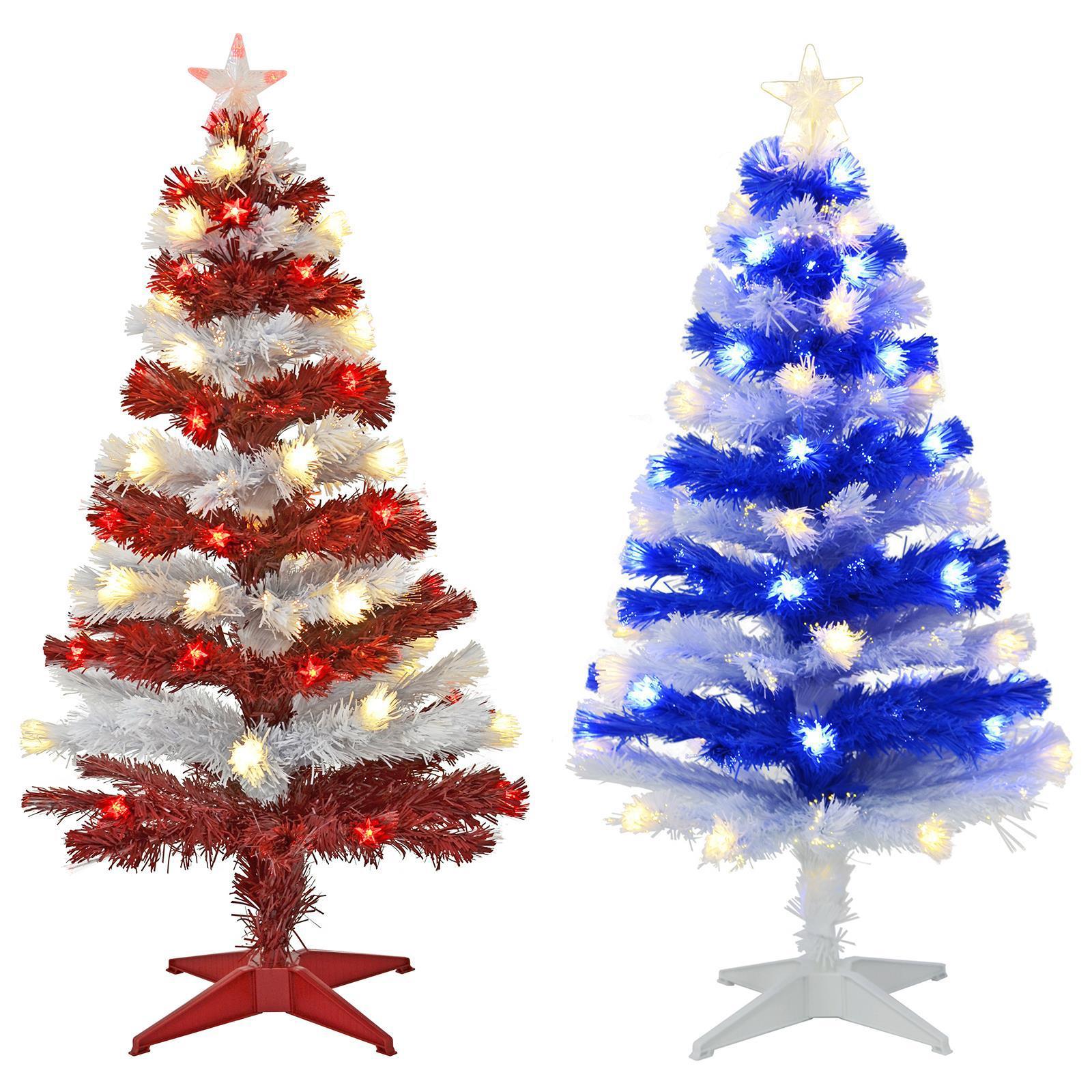 3ft Pre Lit Christmas Tree Artificial Fiber Optic Colour Stripe Red White Blue Ebay