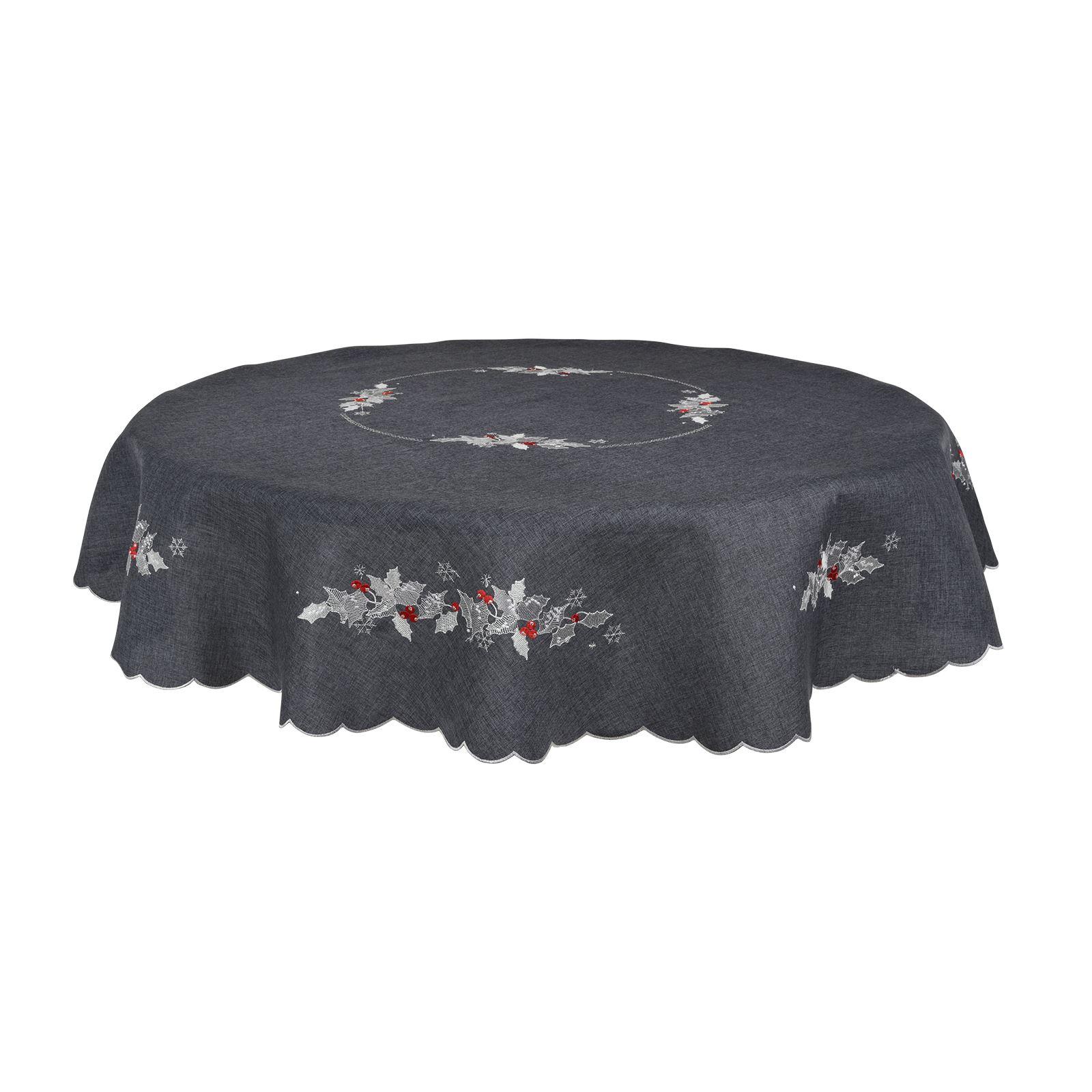 Christmas-Tablecloth-Festive-Pattern-Rectangle-Round-Fabric-Xmas-Room-Decoration Indexbild 95