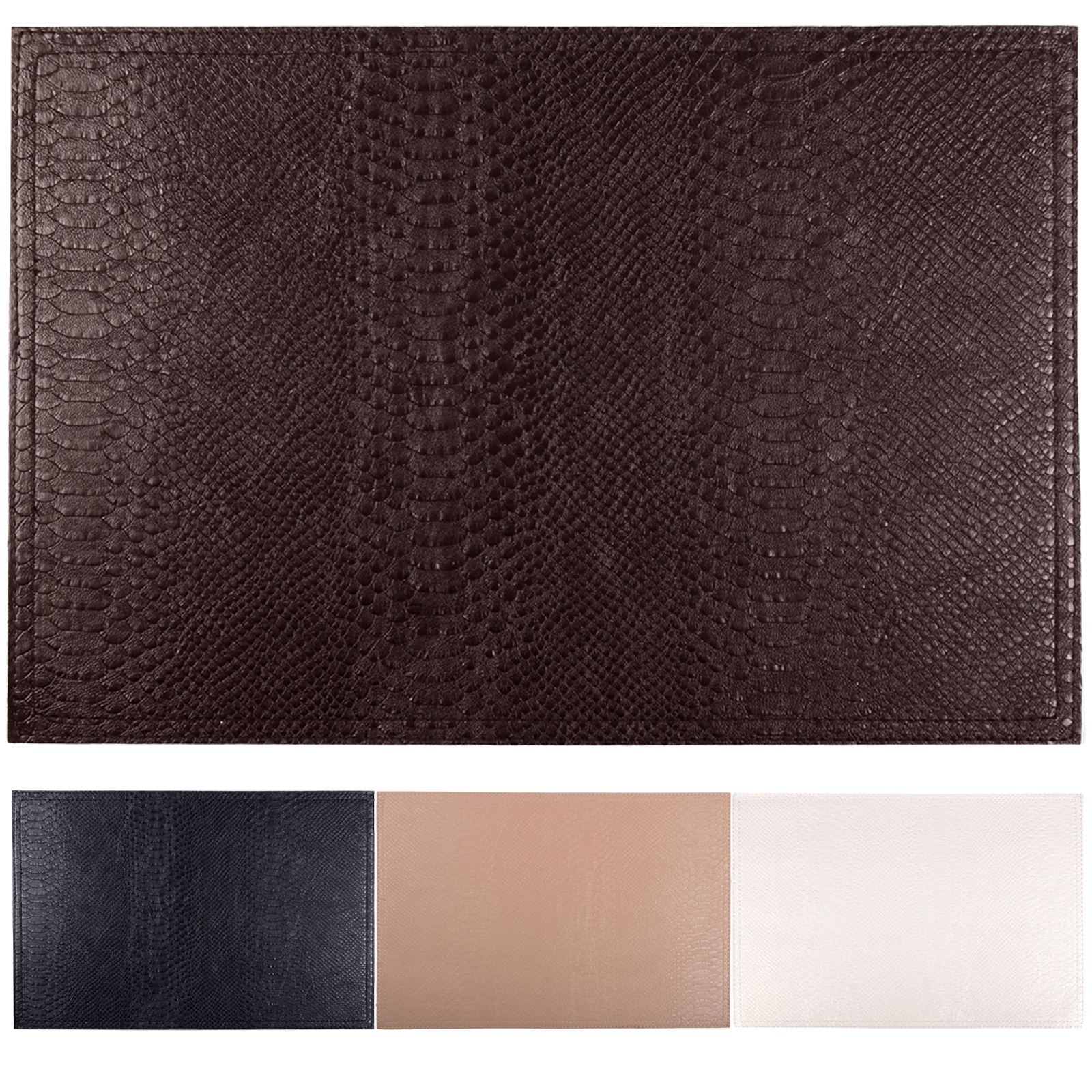 Set Of 4 Faux Leather Placemats Coasters Dining Table