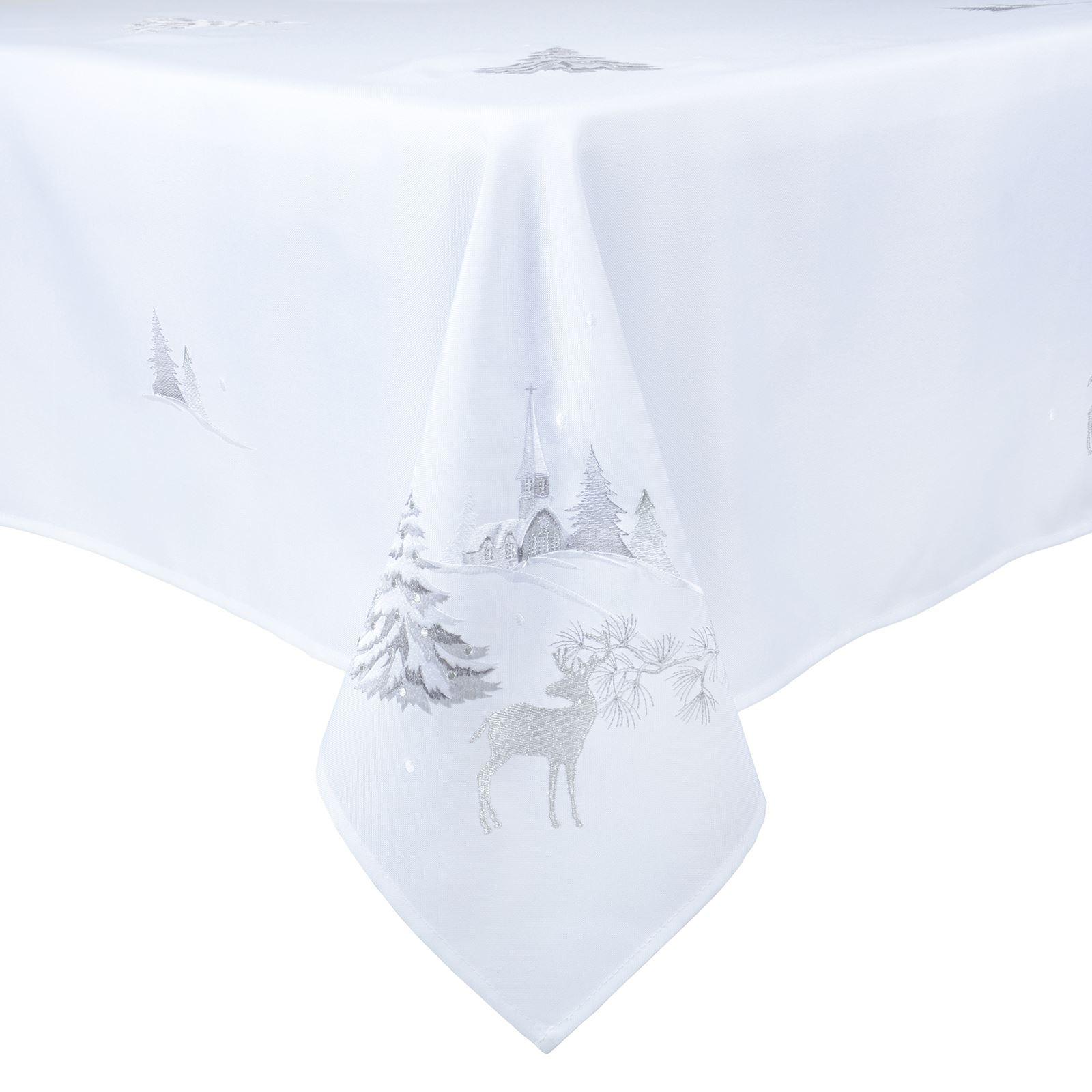 Christmas-Tablecloth-Festive-Pattern-Rectangle-Round-Fabric-Xmas-Room-Decoration Indexbild 55