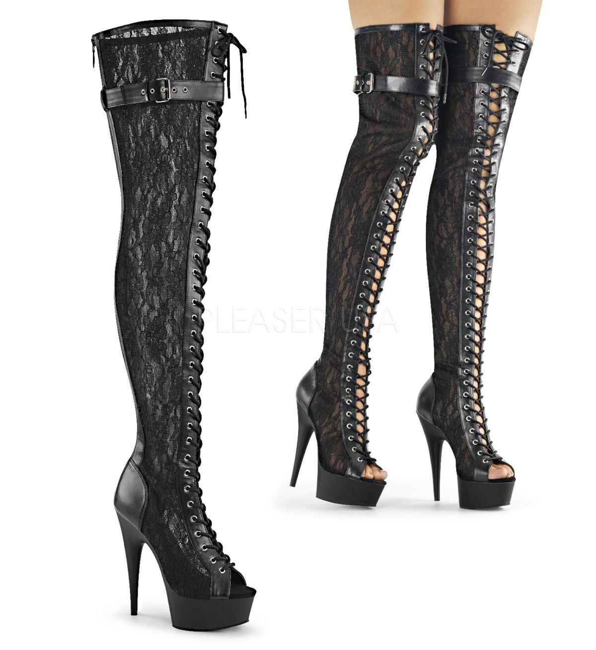 Pleaser DELIGHT-3025ML Platform Peep Toe Lace Up Thigh Boot Back Zip Black Matte