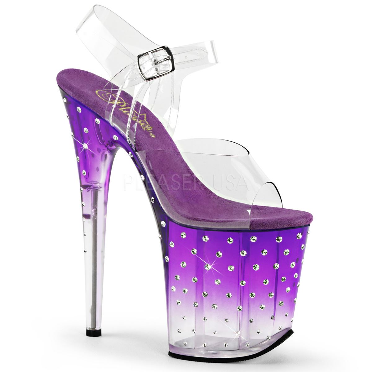 Pleaser Platform Ankle Strap Sandale Rhinestone Studded Bottom Clear/Purple-Clear