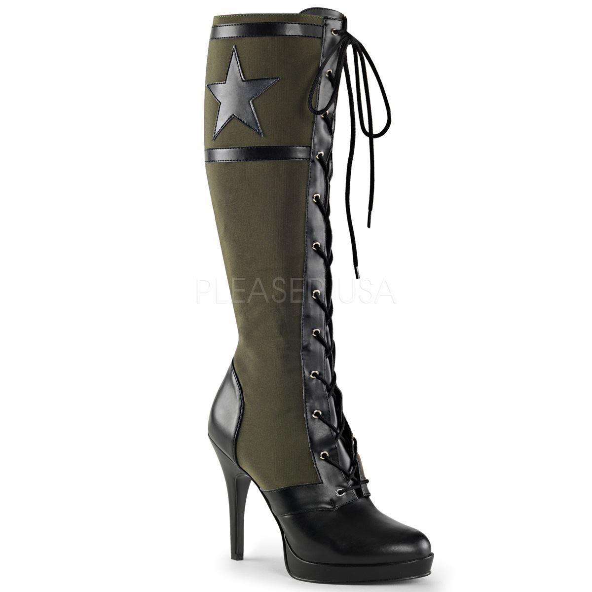 Grandes zapatos con descuento Funtasma ARENA-2022 Front Lace Up Knee High Military Boot Side Zip Khaki Green