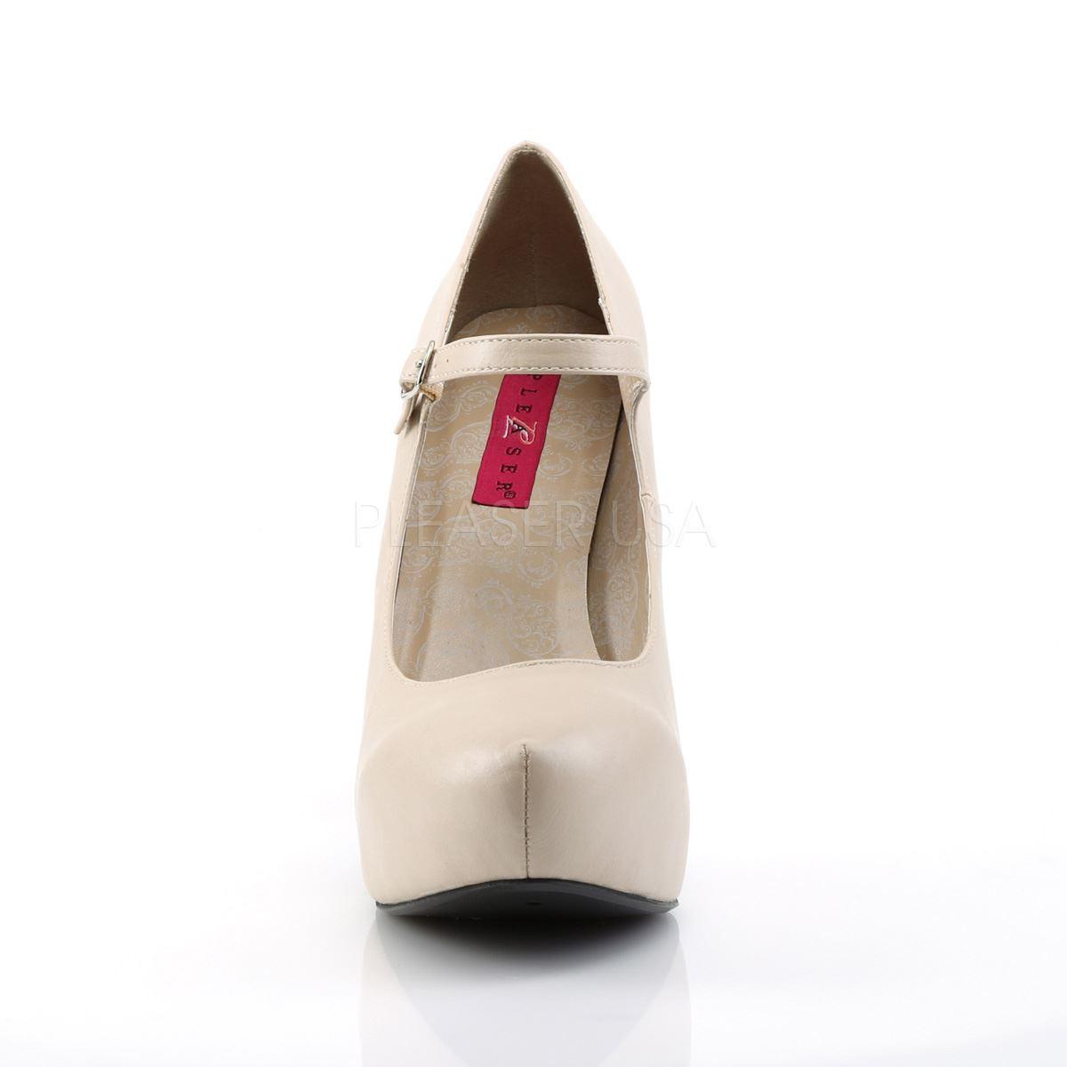 Pleaser Pleaser Pleaser Pink Label Platform Mary Jane Concealed Platform Pump Cream Faux Leder b04f2c