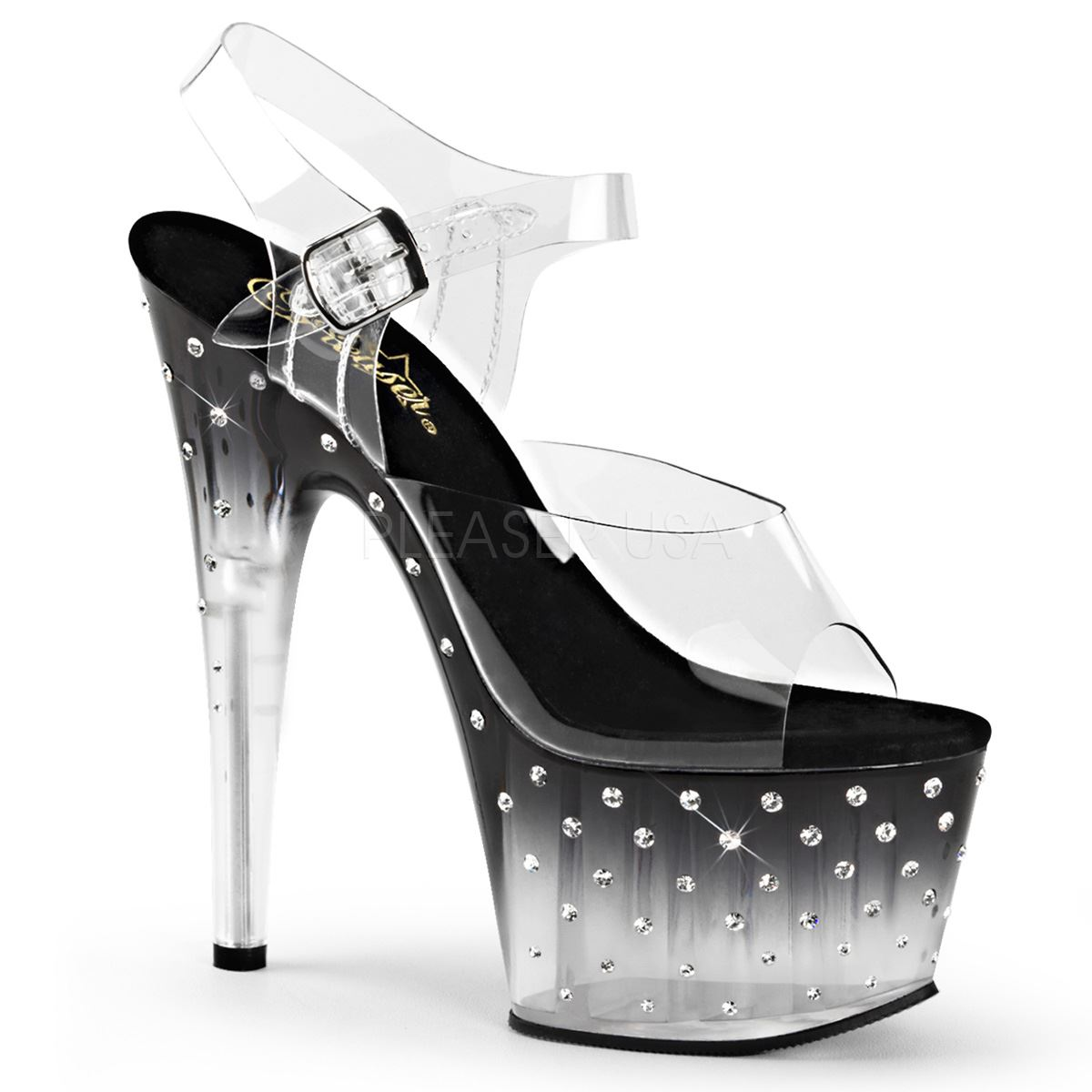 Descuento barato Pleaser Platform Ankle Strap Sandal Rhinestones Studded Bottom Clear/Black-Clear