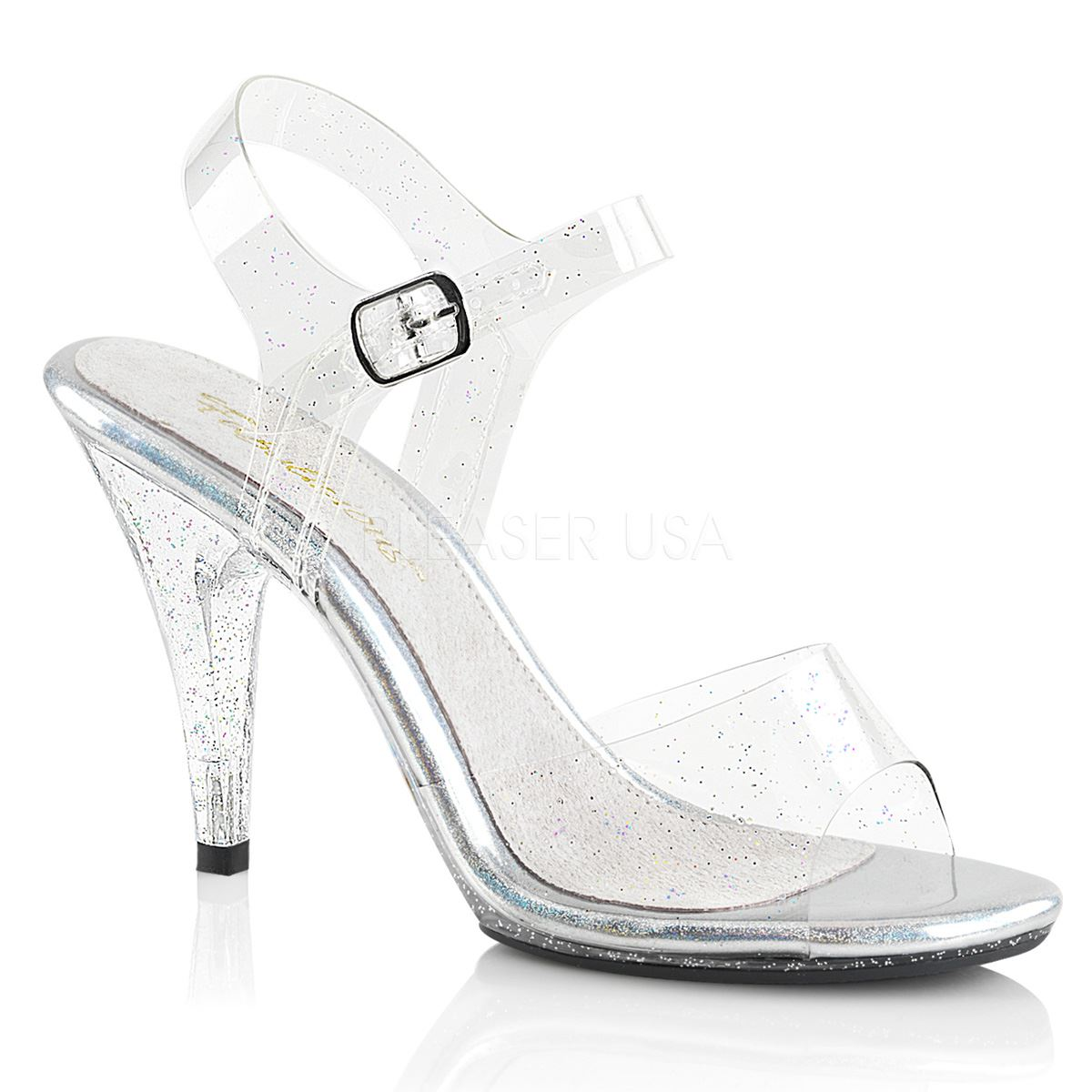 Fabulicious CARESS-408MMG Platform Ankle Strap Sandal Women's Clear/Clear
