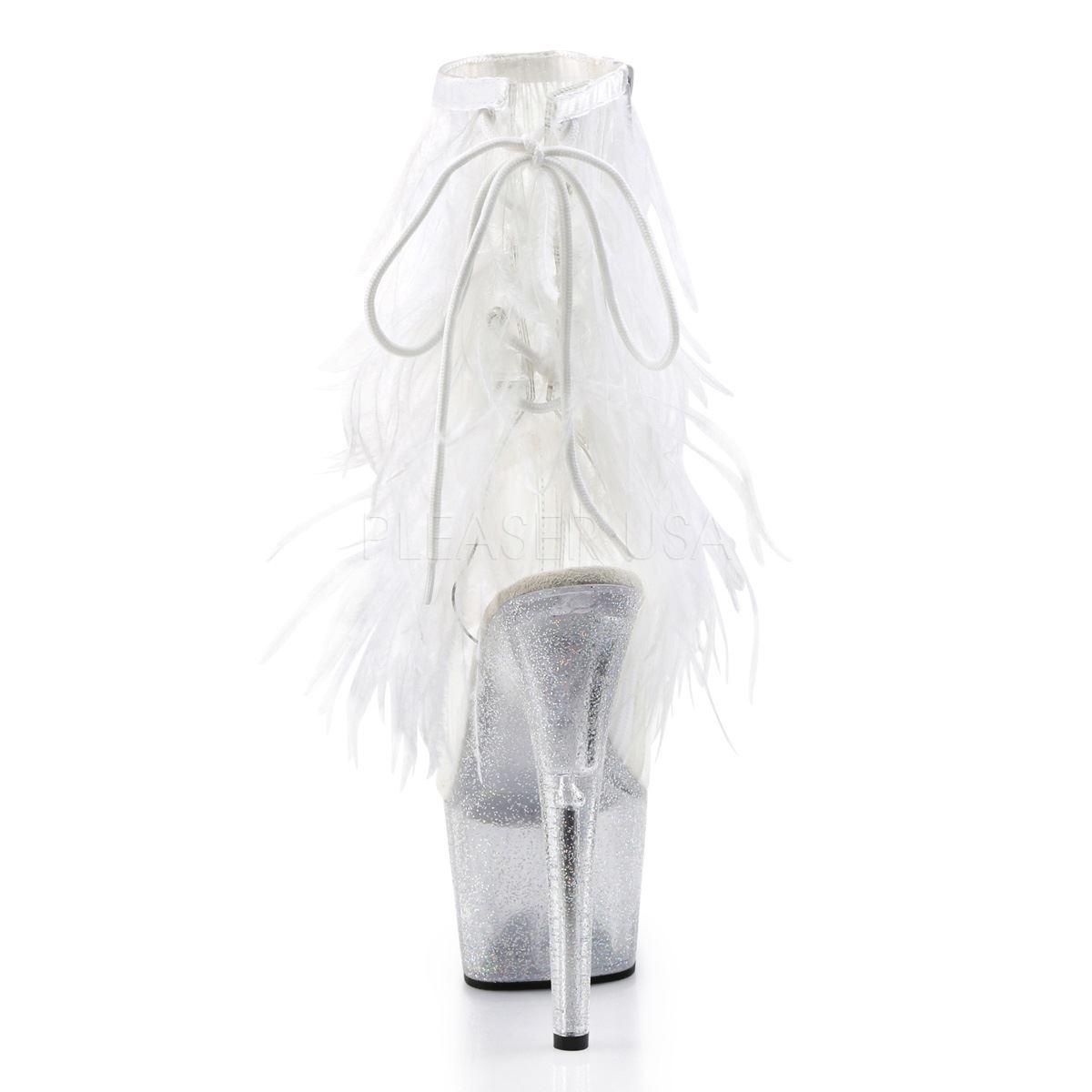 Pleaser Platform Marabou Fringe Fur Fringe Marabou Ankle Boot Clear-Weiß Marabou/Clear-Glitter 80b130