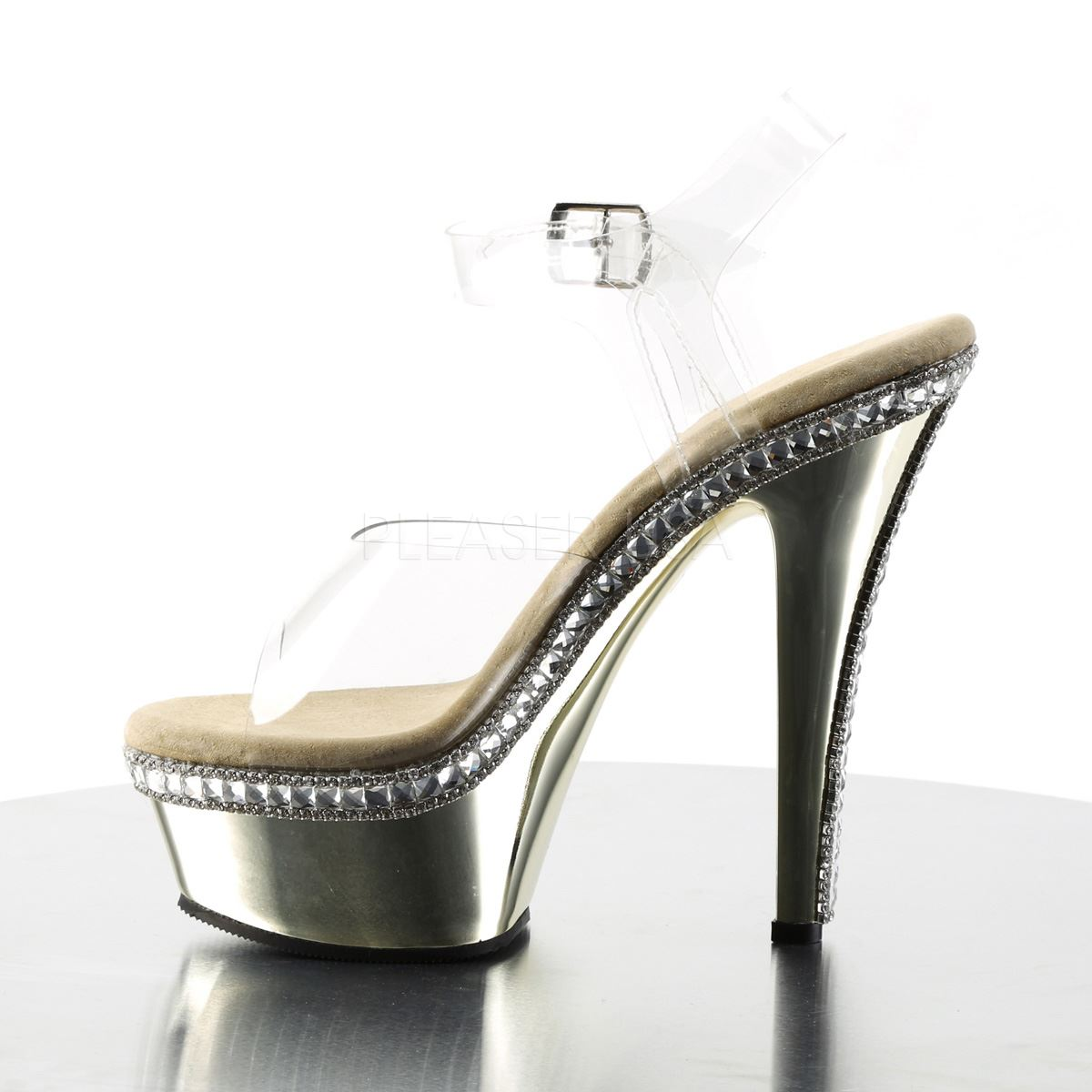 Pleaser Ankle Platform Ankle Pleaser Strap Sandale Clear/Gold Chrome 659fa5