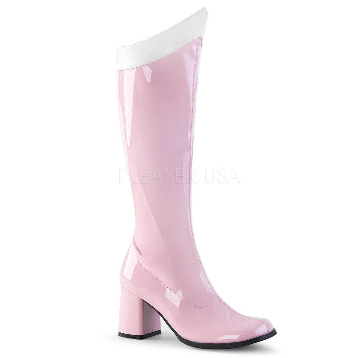 Funtasma GOGO-306 Knee High Gogo Boot Women's Baby Pink-White Stretch Pat