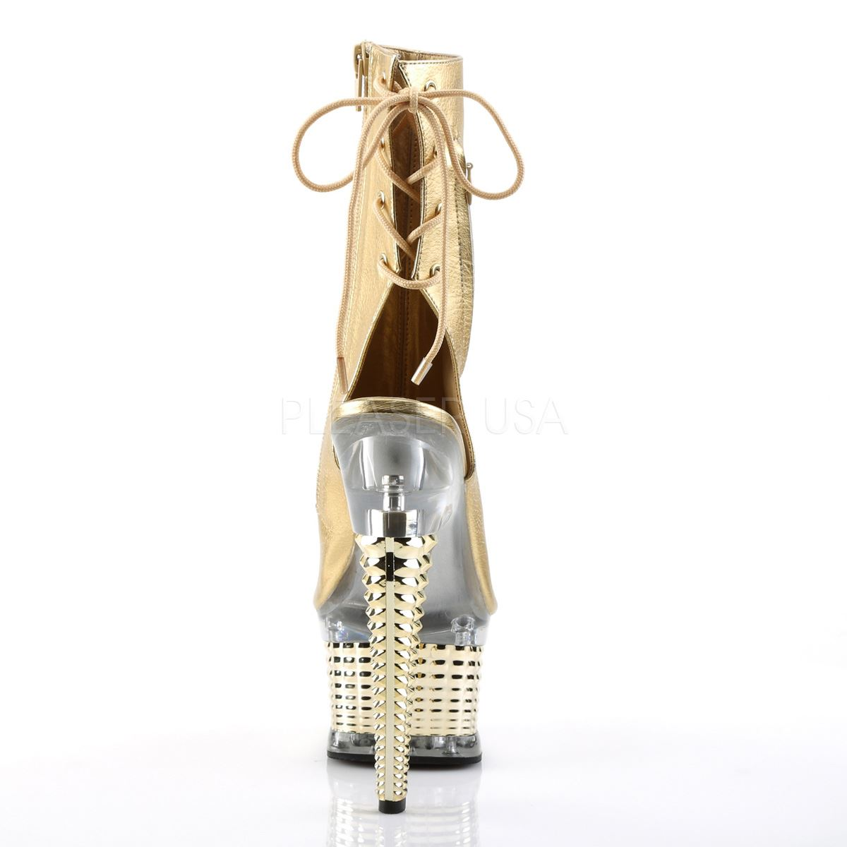 Pleaser Heel Platform Open Toe And Heel Pleaser Ankle Boot Gold Metallic Pu/Gold Chrome 110a02