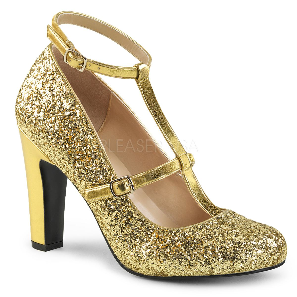 Pleaser Pink Label Round Gold Toe Pump With Glitters Gold Round Glitter-Metallic. Pu 2dab67