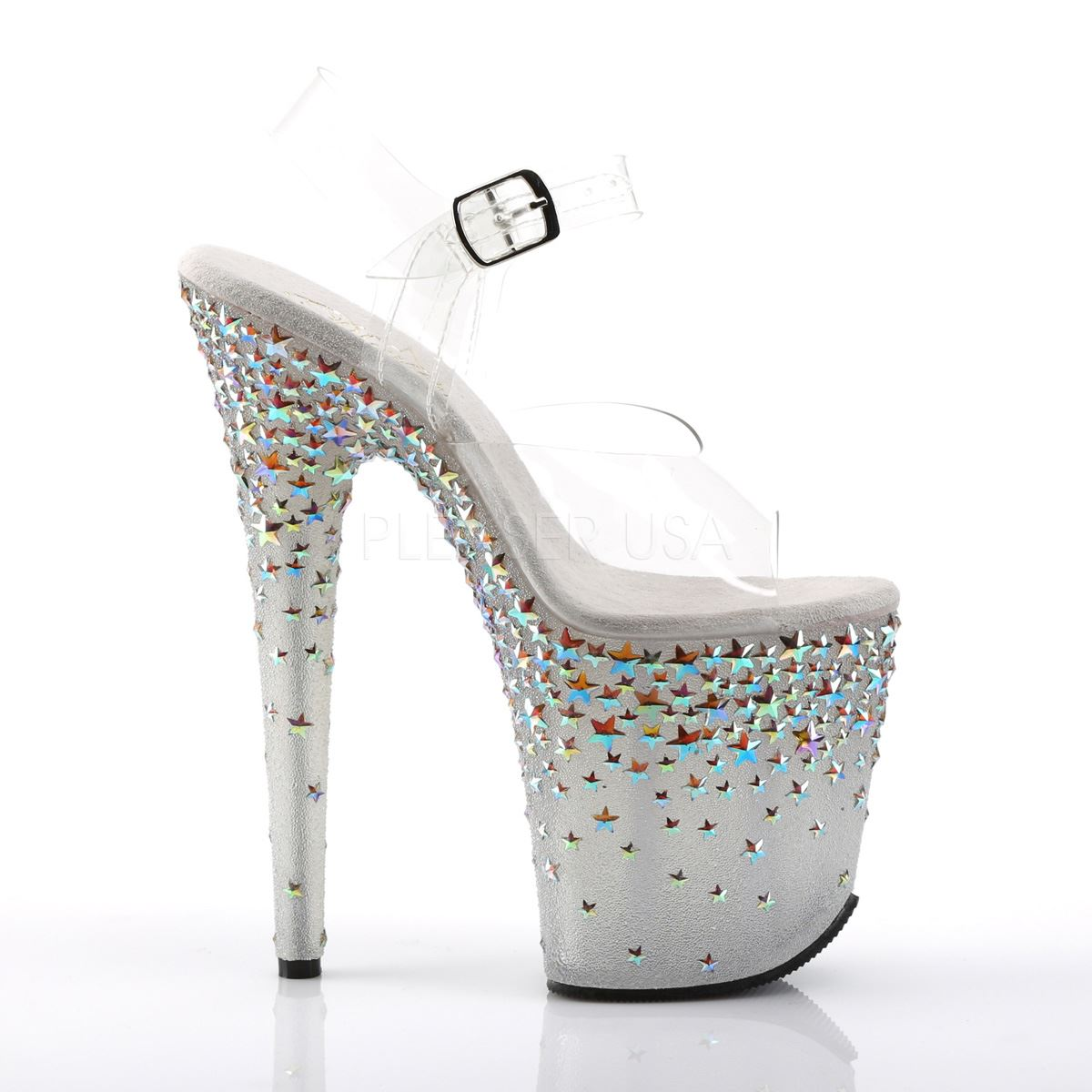 Pleaser Clear/Frost(Silver Platform Ankle Strap Sandal Clear/Frost(Silver Pleaser Hologram Stars) b5e84b