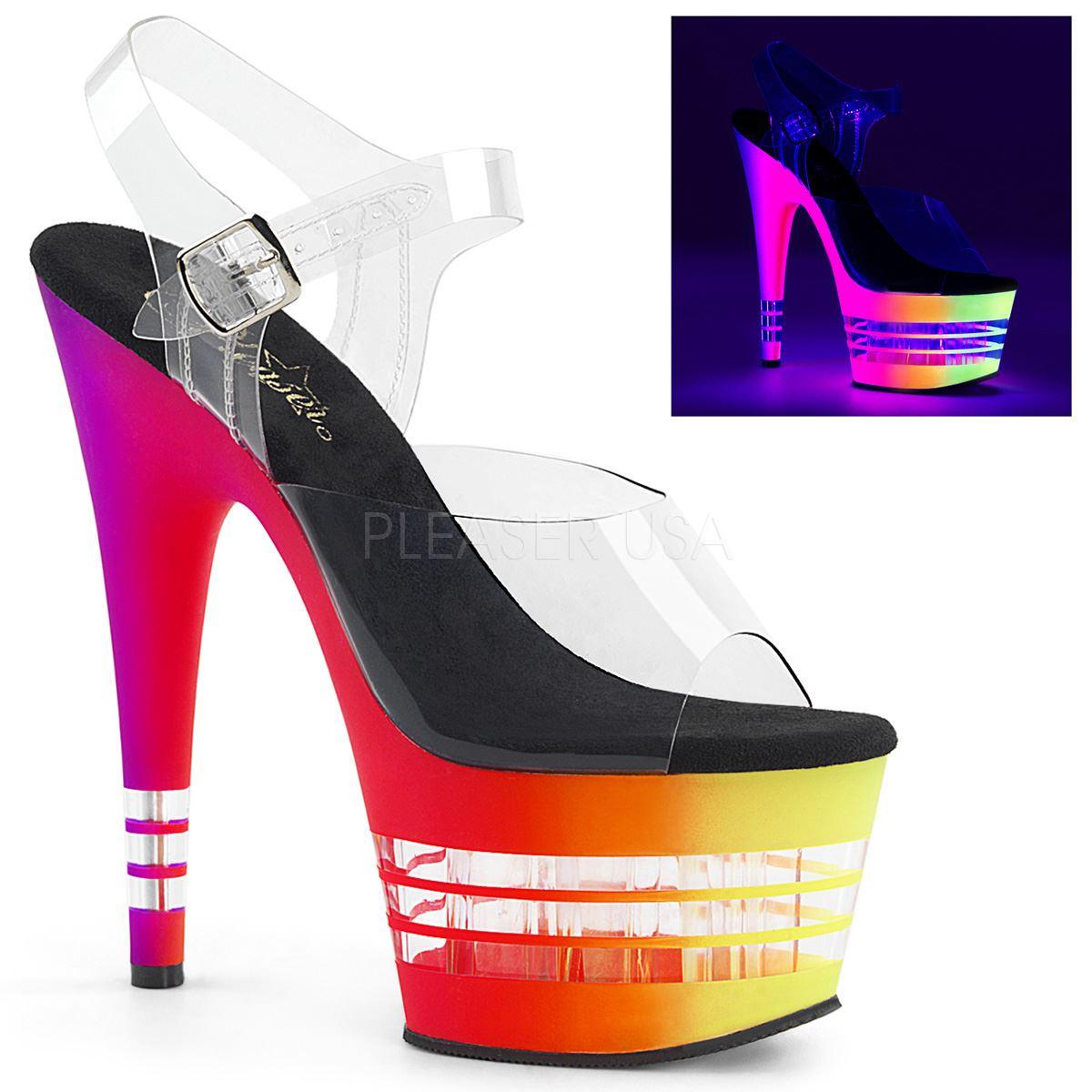 PLEASER ADORE - 708 uvln Donna Piattaforma Caviglia Cinturino Sandalo Donna uvln Chiaro UV/Neon Multi 34b089