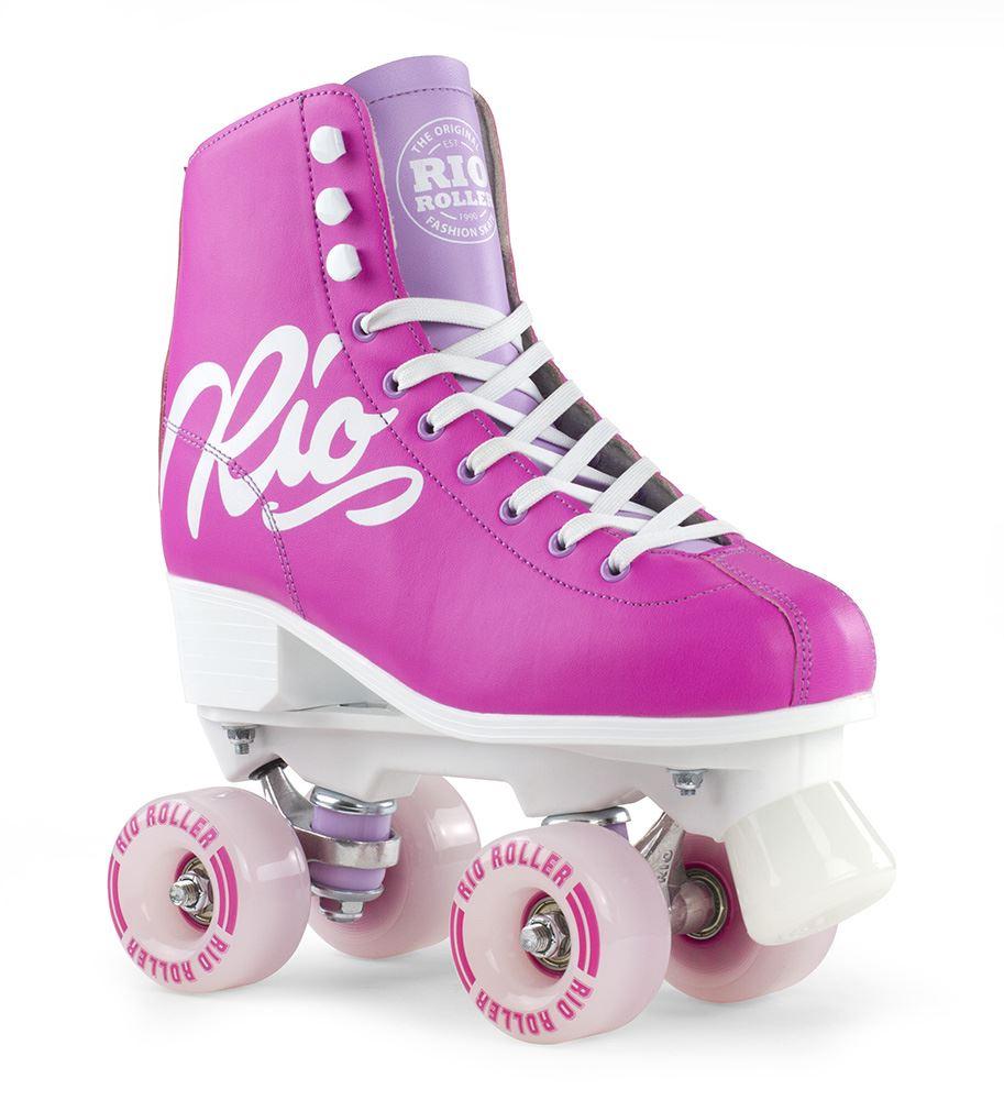 Rio Roller Adult Kids Girls Womens Script Quad Roller Skates ALL SIZES -  Pink 35bd992f47