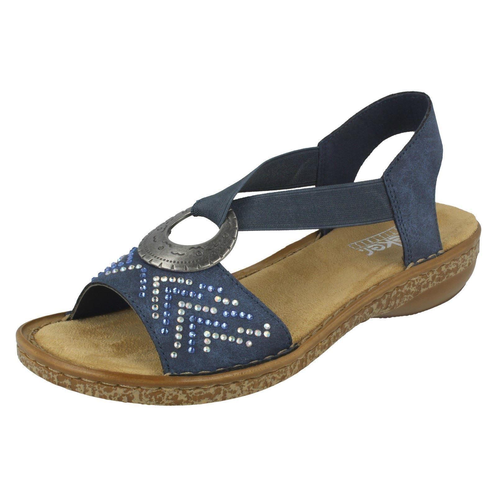 Ladies The Rieker Sandals Style 62802 Blue w18qS01ax