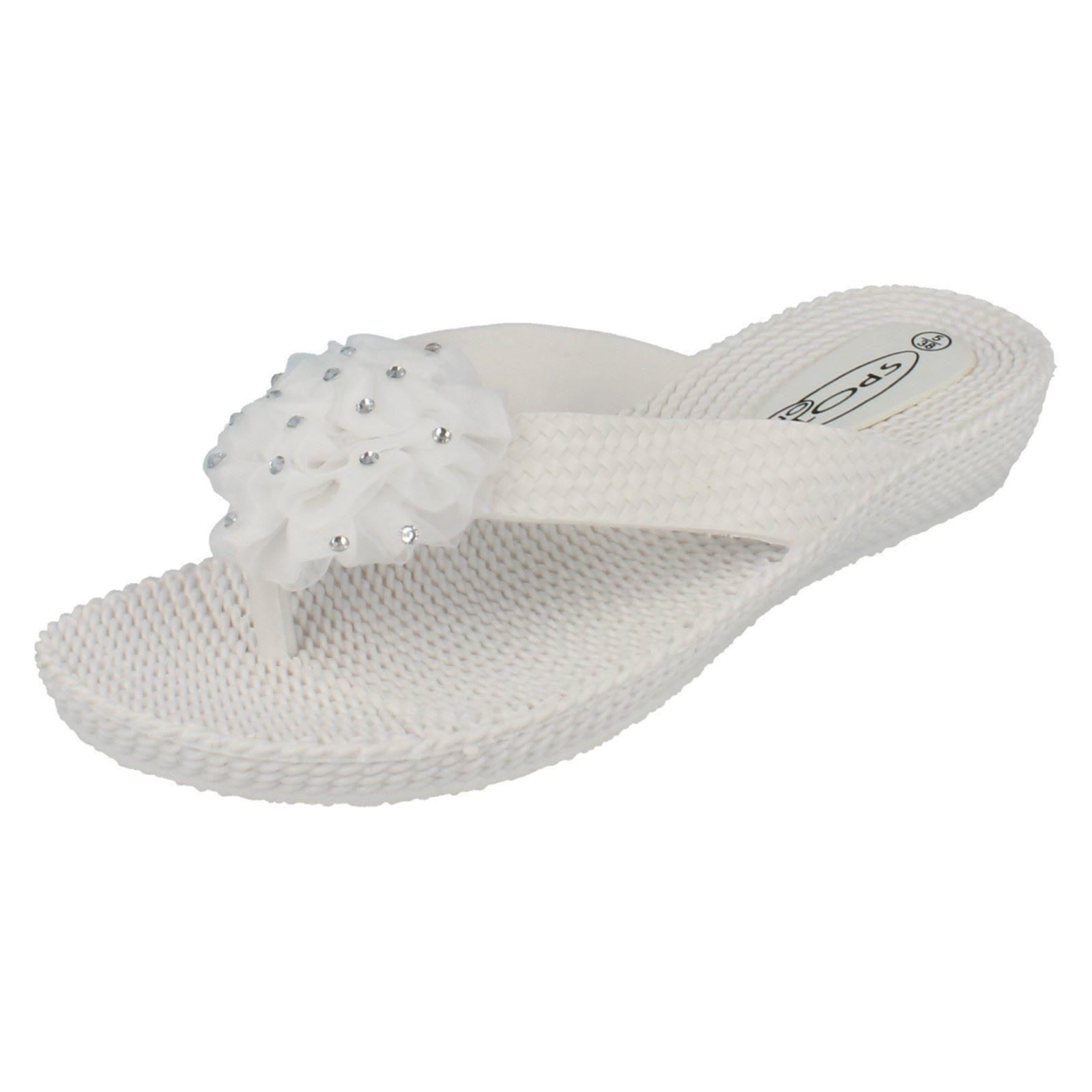 Damas Spot On Casual Slip On Cuña Toe puestos F10266-D