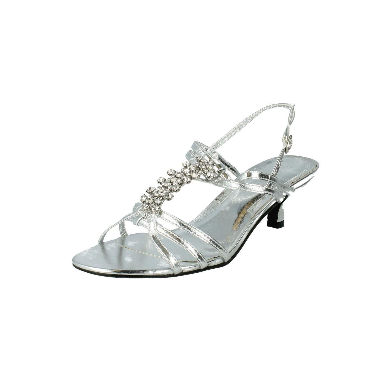 545d8379c1e Ladies Mid Heel Diamante Trim Ankle Strap Sandals Spot on Silver UK 4  Standard. About this product. Picture 1 of 9  Picture 2 of 9 ...