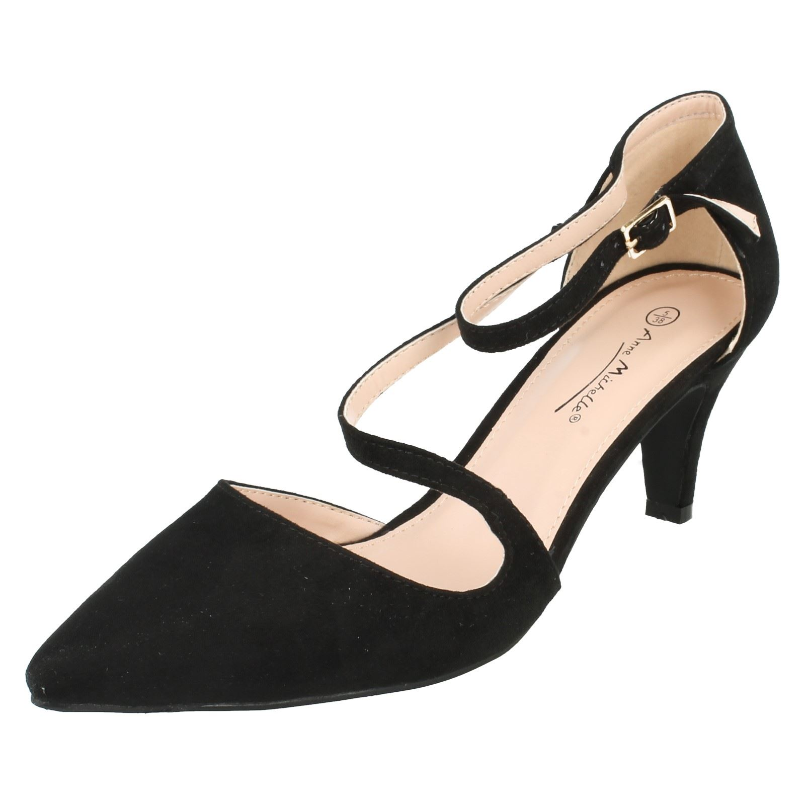 72b9810bfc6f Ladies Anne Michelle Strap Court Shoes F9960 Black Microfiber UK 7. About  this product. Picture 1 of 7  Picture 2 of 7 ...