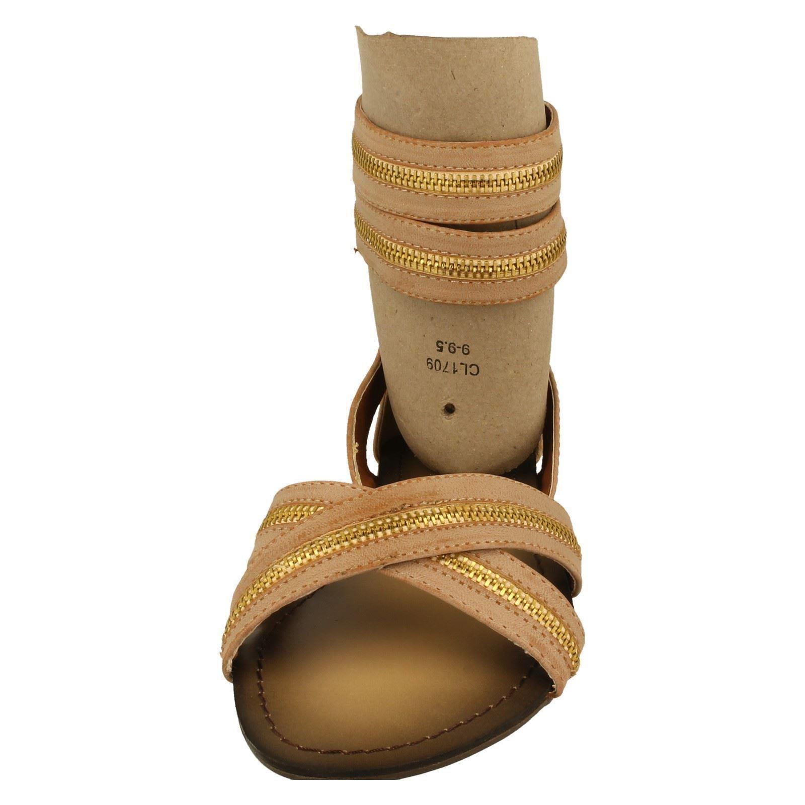 Damas Spot on y Correa en el tobillo Sandalias Etiqueta F0398-W