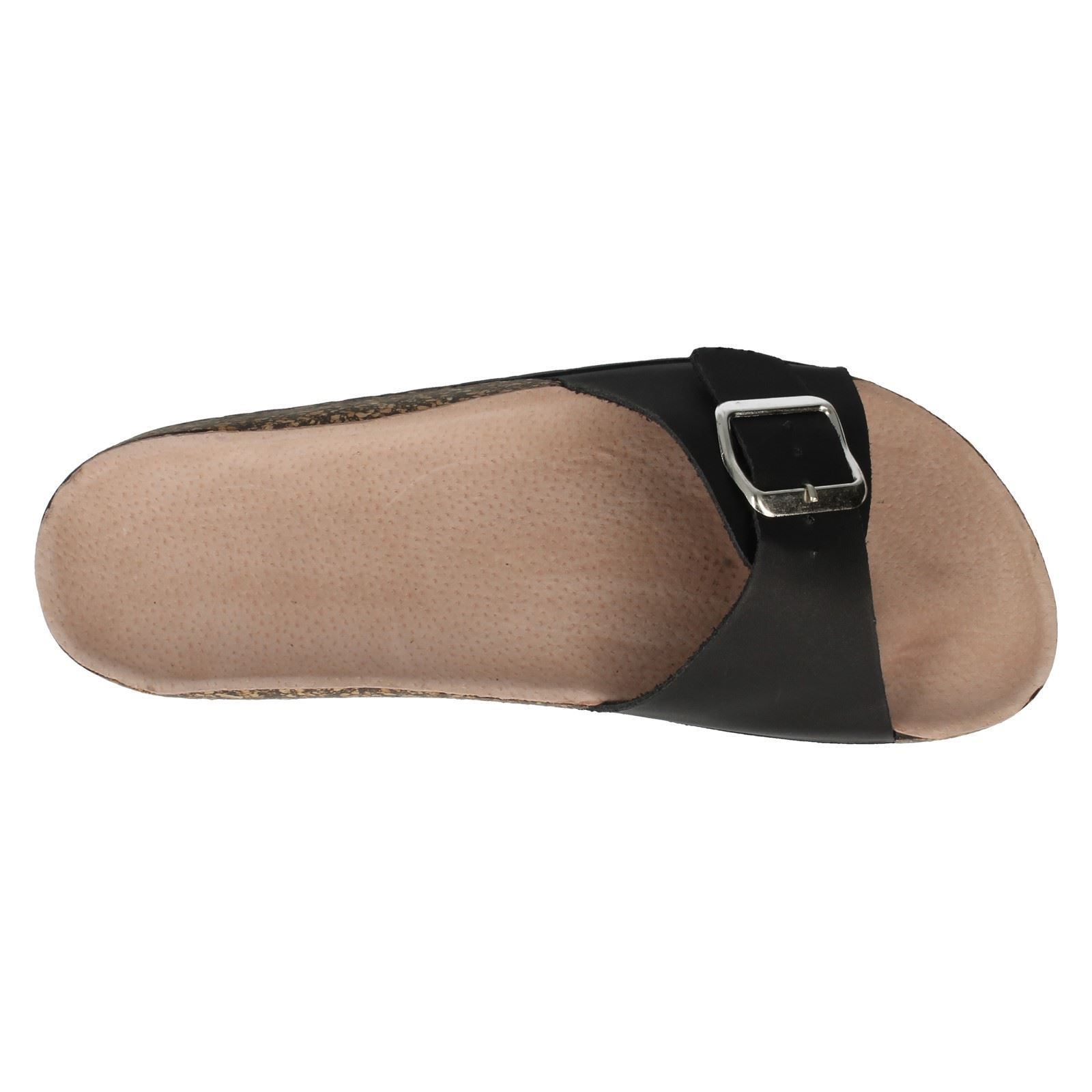Ladies Spot On Slip On Foot Bed Open Toe Mule Flip Flop Sandals F10293