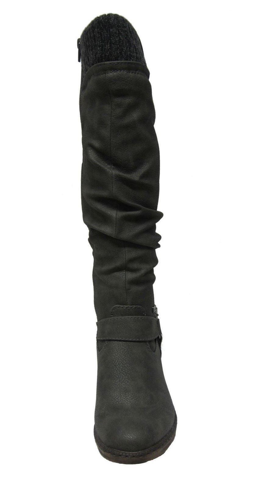 Damas Rieker 93756 Etiqueta Knee High Long Botas De Invierno