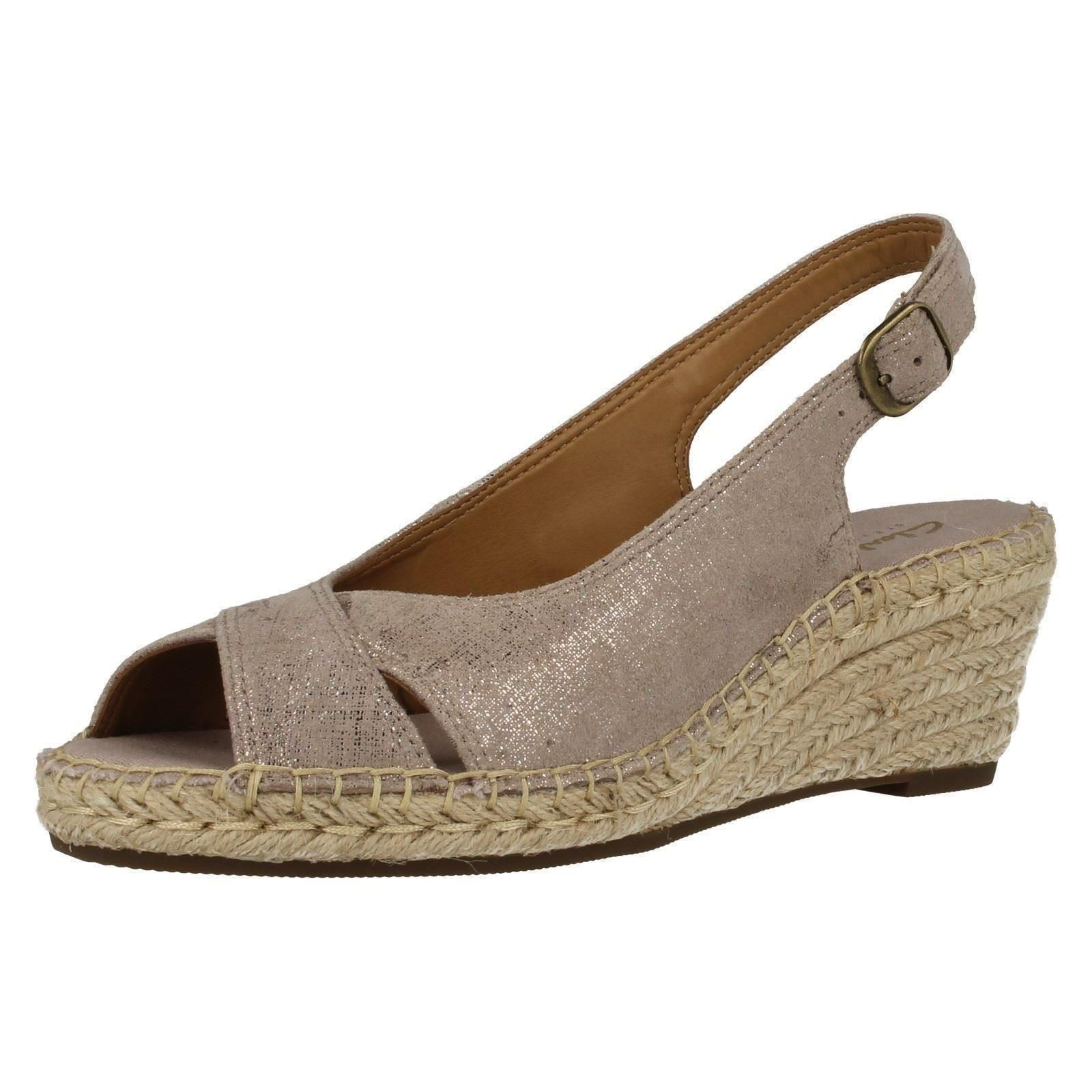 fac8735b5fb Ladies Clarks Sling Back Wedge Sandals Petrina Leigh Light Tan Suede UK 3  D. About this product. Picture 1 of 9  Picture 2 of 9 ...