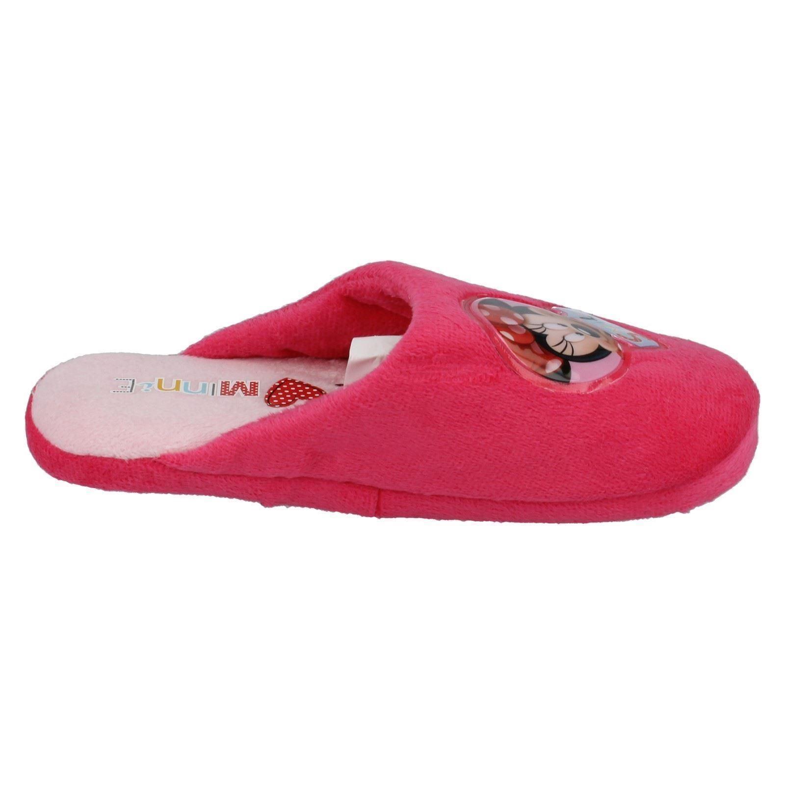 Chicas Disney Rosa Slip On Cerrado El Interior De Minnie Mouse Zapatillas wd8147