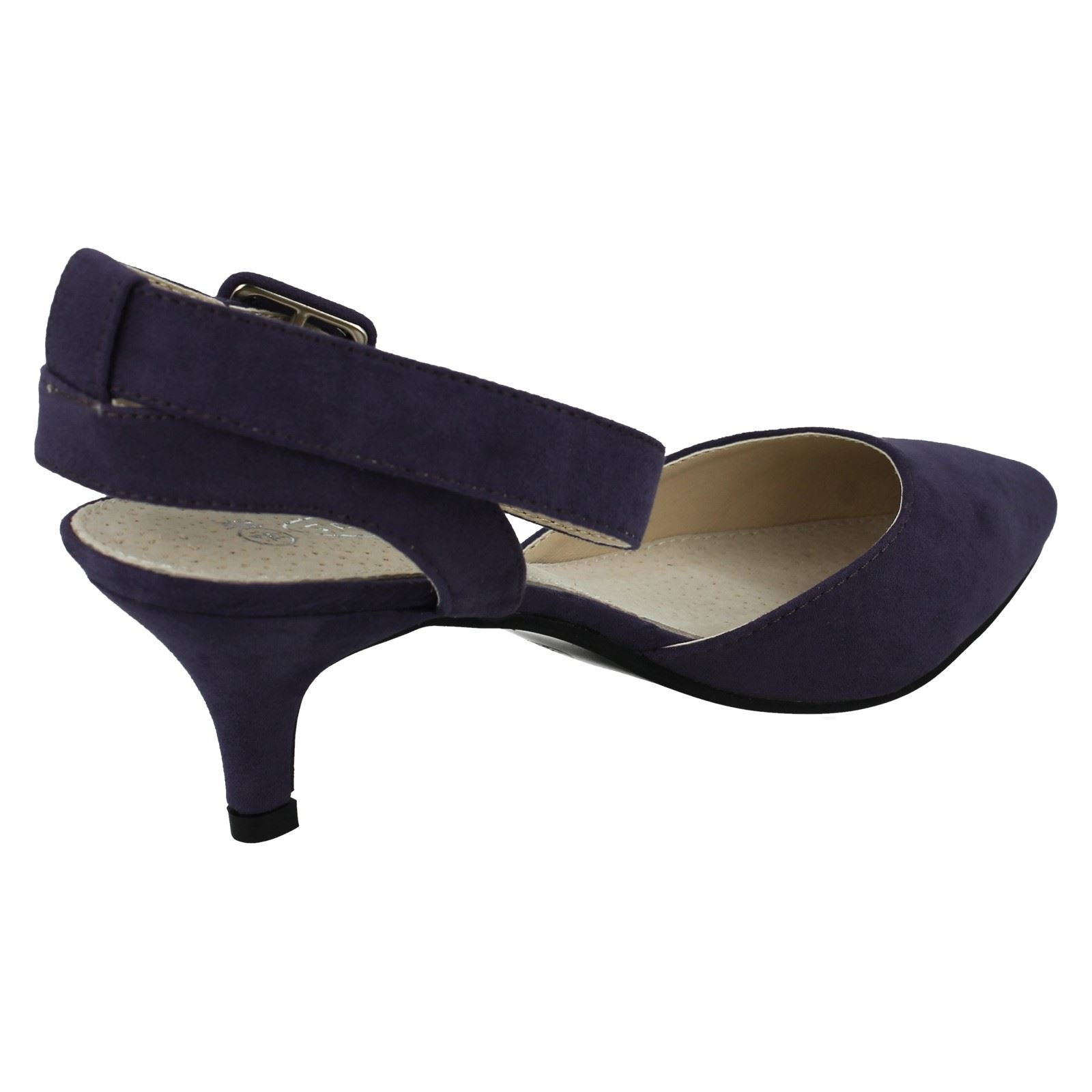 Ladies Spot On Ankle Strap Pointed Toe Court Shoe Style ...
