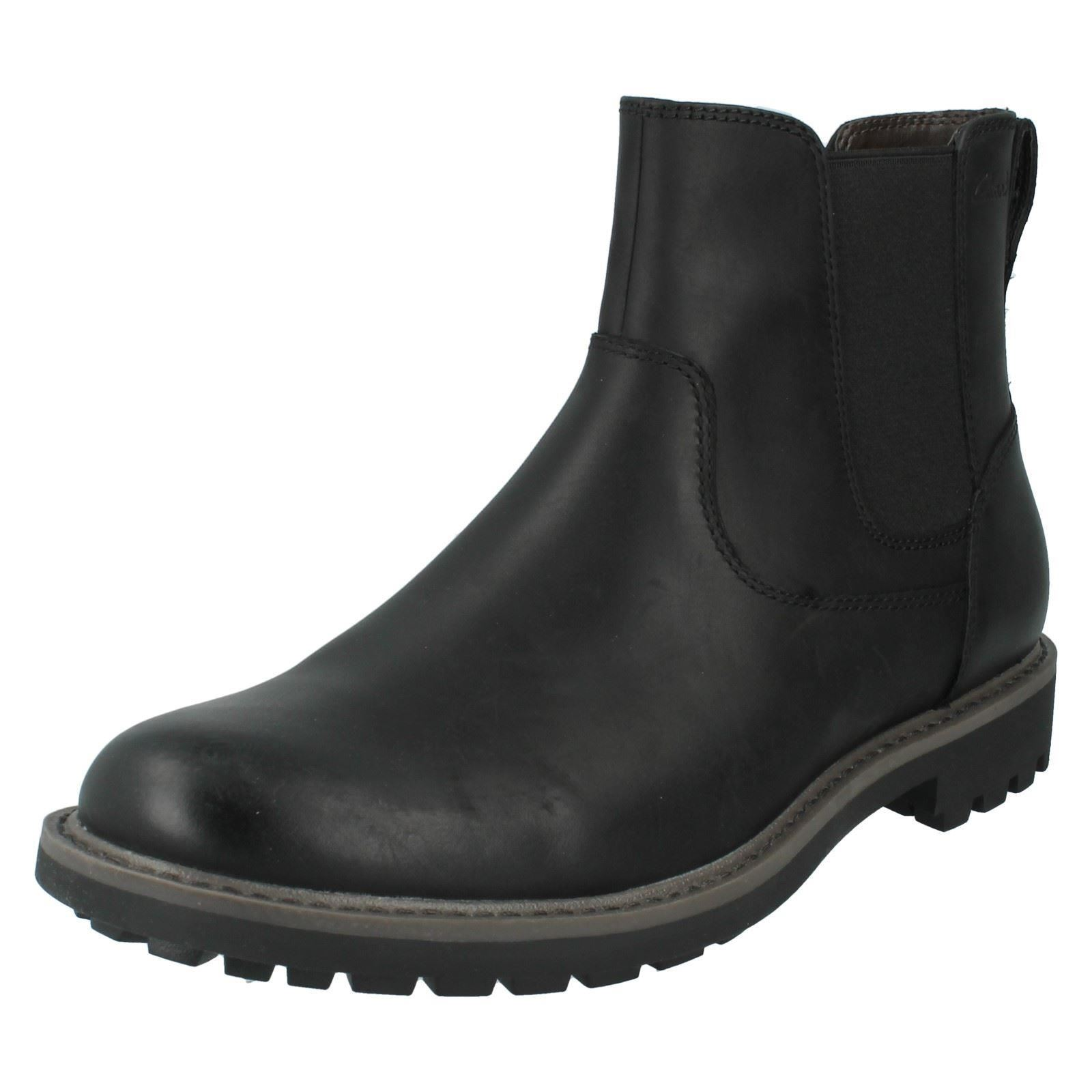 b1f3a42a Mens Clarks Montacute Top Leather Chunky Chelsea BOOTS G Fitting UK 8.5  Black