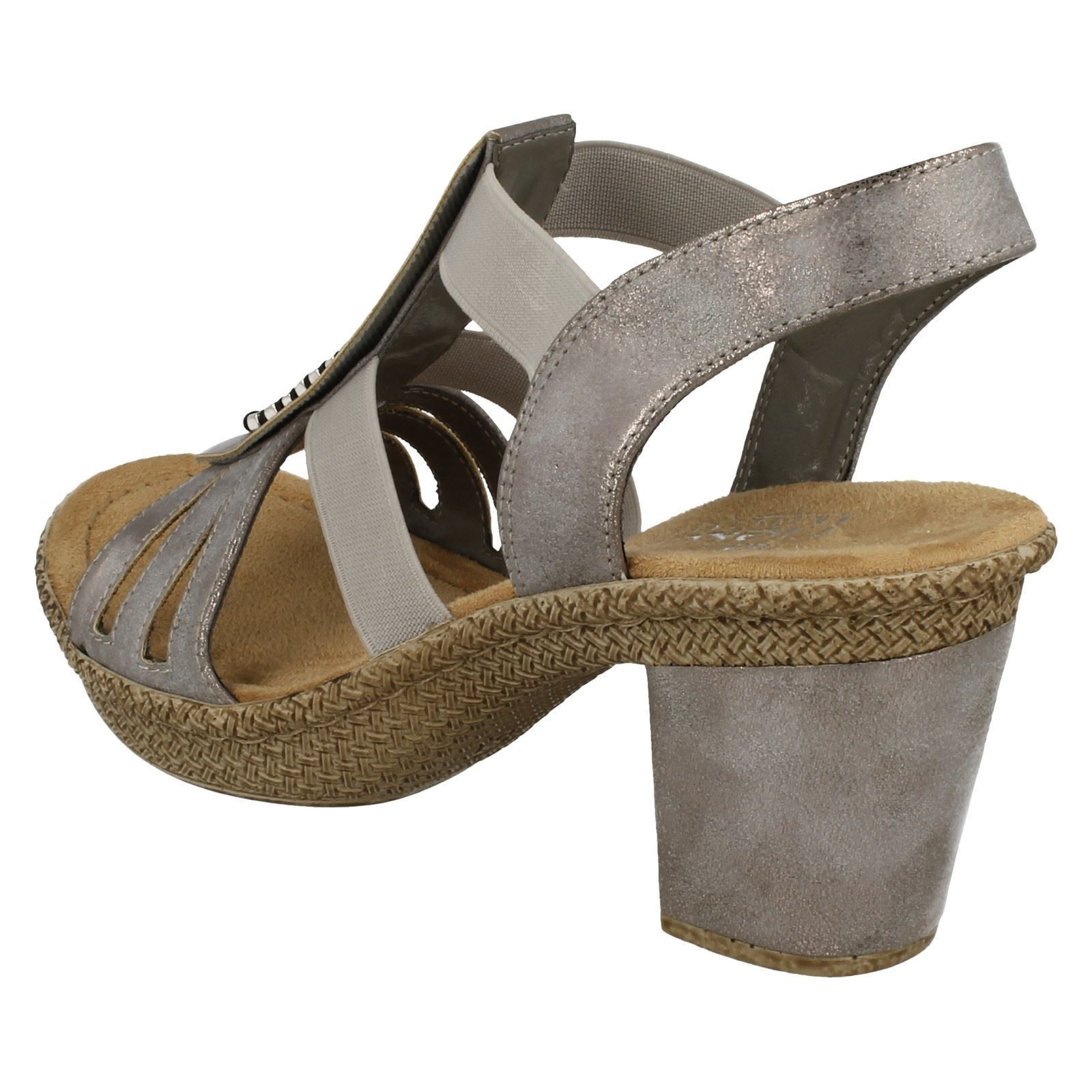 Rieker Ladies Heeled Grey Sandals Style 66584 4W0q1w