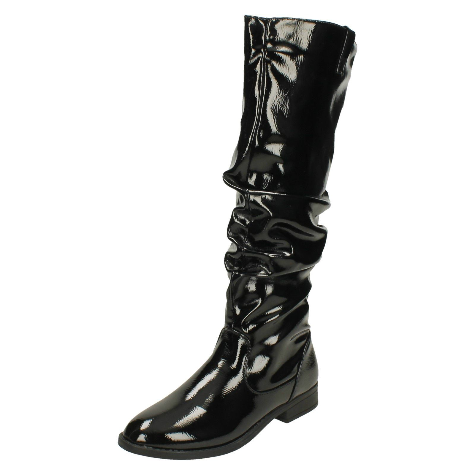 F4r418 Up Style Knee Black Boots On High Zip The Patent Spot ~ N Ladies qZgxazq