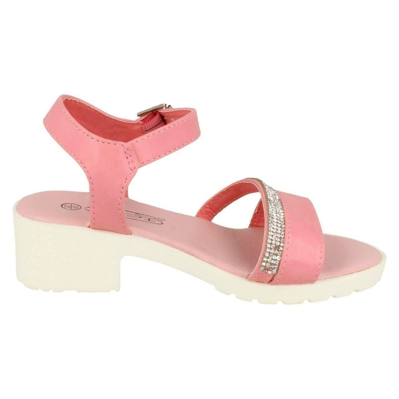 Girls Spot On Diamante Sandals H1071 ~ K