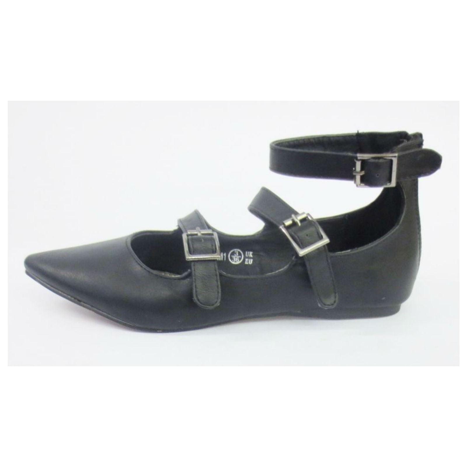 Damas Spot On Casual Zapatos Planos Bailarina Hebilla el estilo-F80043