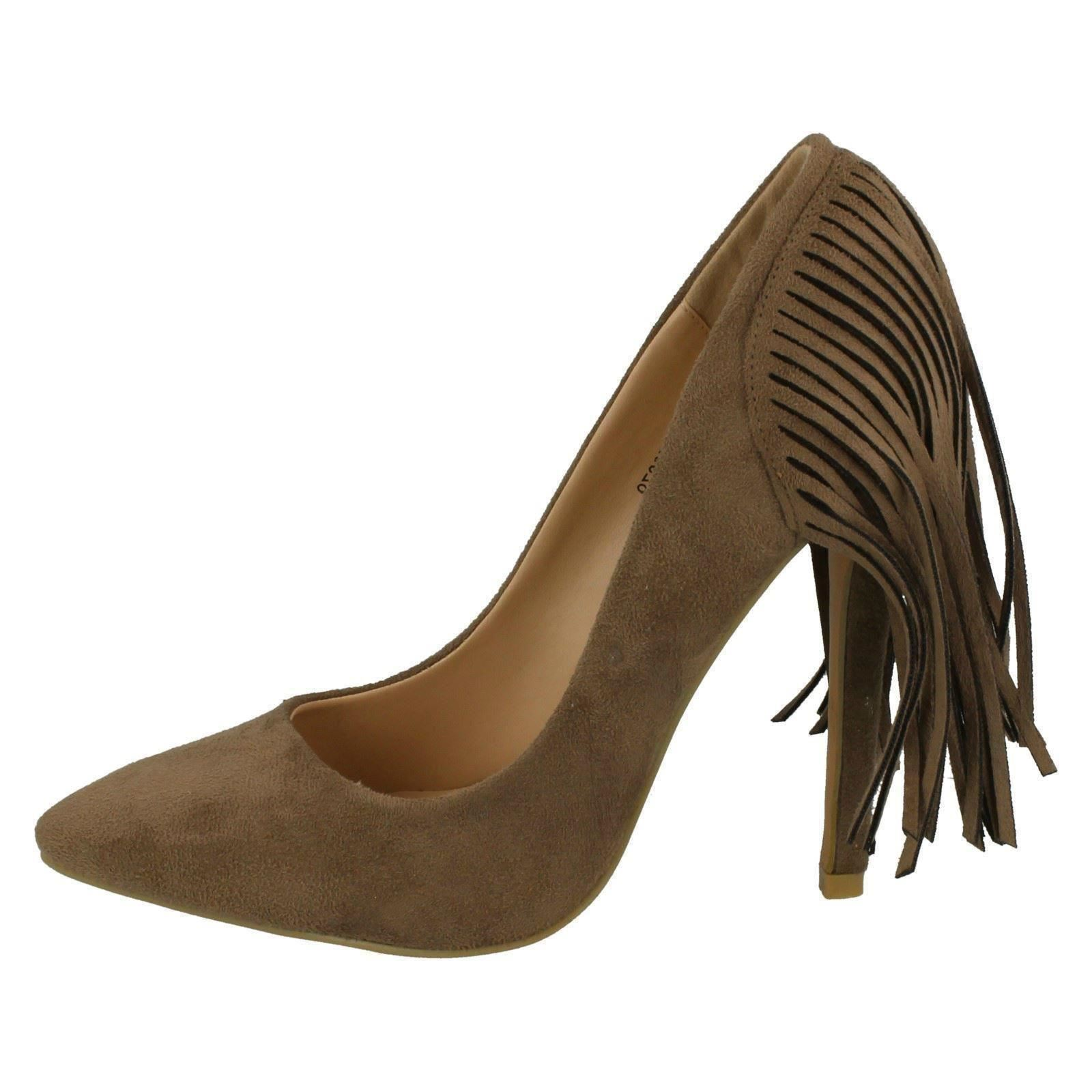 Señoras punto en detalle de flecos Tribunal Zapatos F9879 Etiqueta ~ K