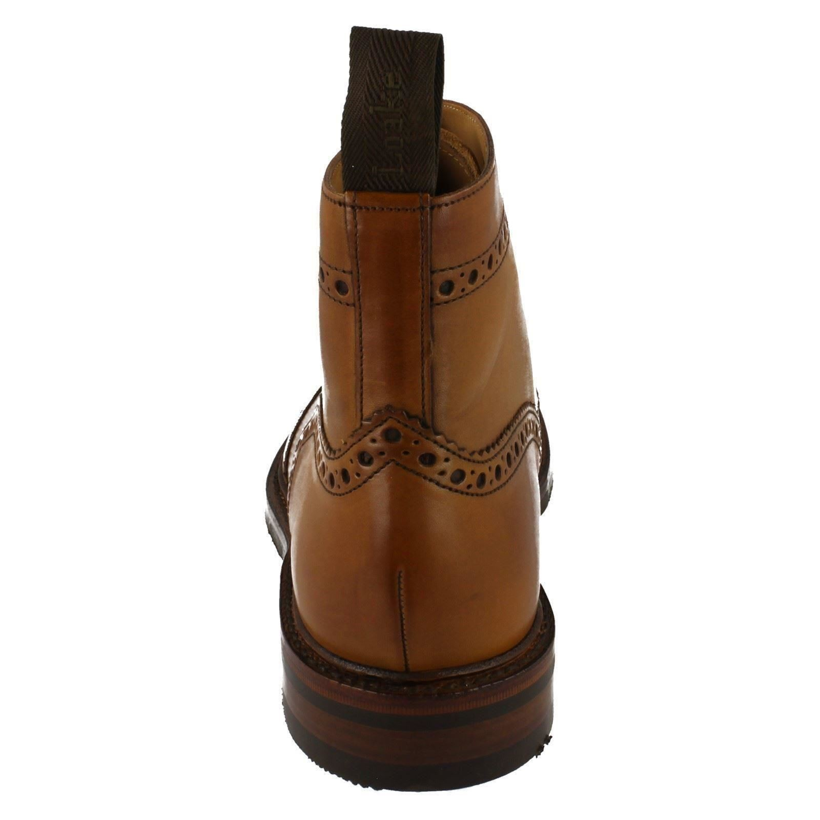 Mens Loake Tan Leather Leather Leather Classic Brogue Design Lace Up Ankle Boots Bedale 39da98