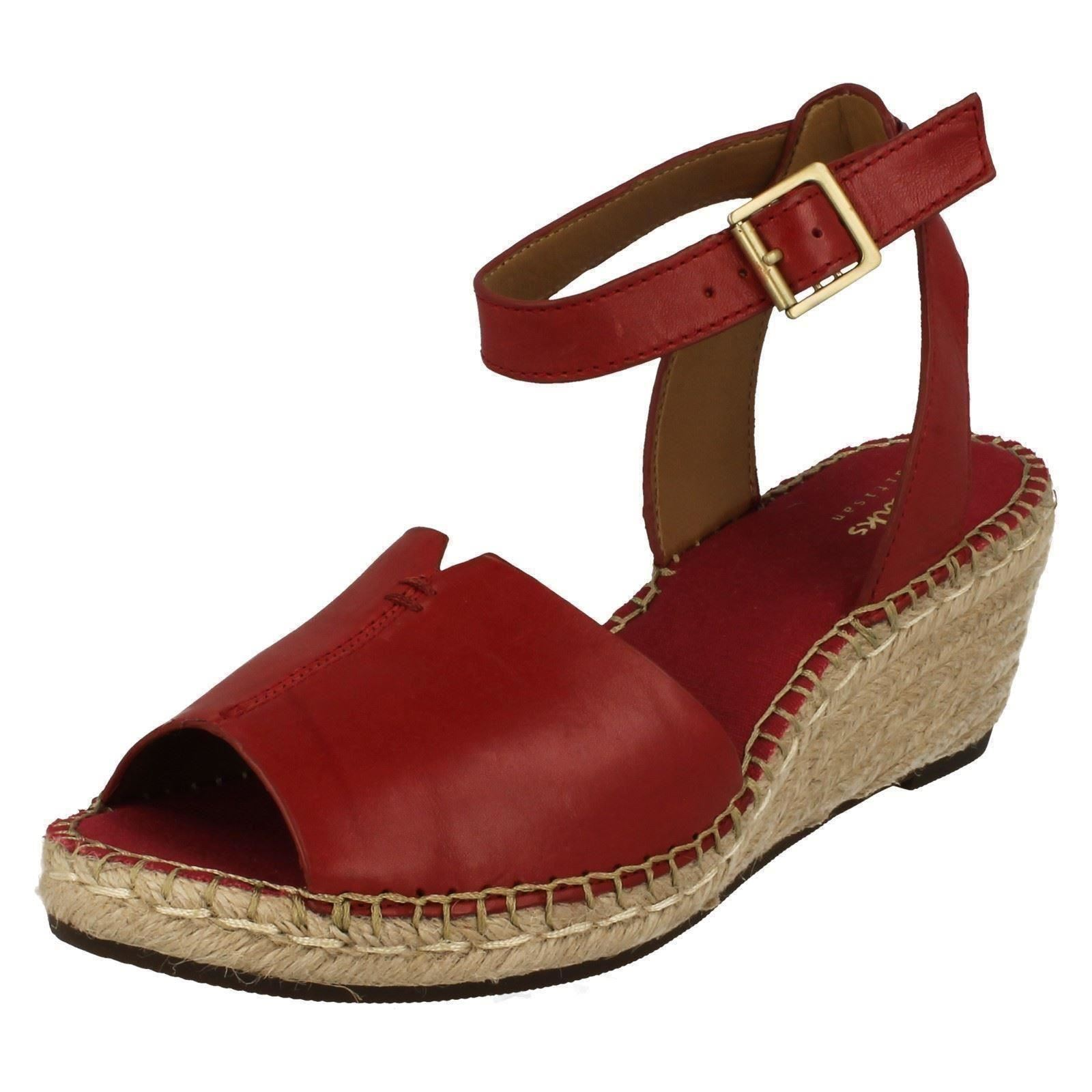 fe194d41b7f Ladies Clarks Hessian Wedge Sandals Petrina Selma Red UK 8 D. About this  product. Picture 1 of 8  Picture 2 of 8 ...