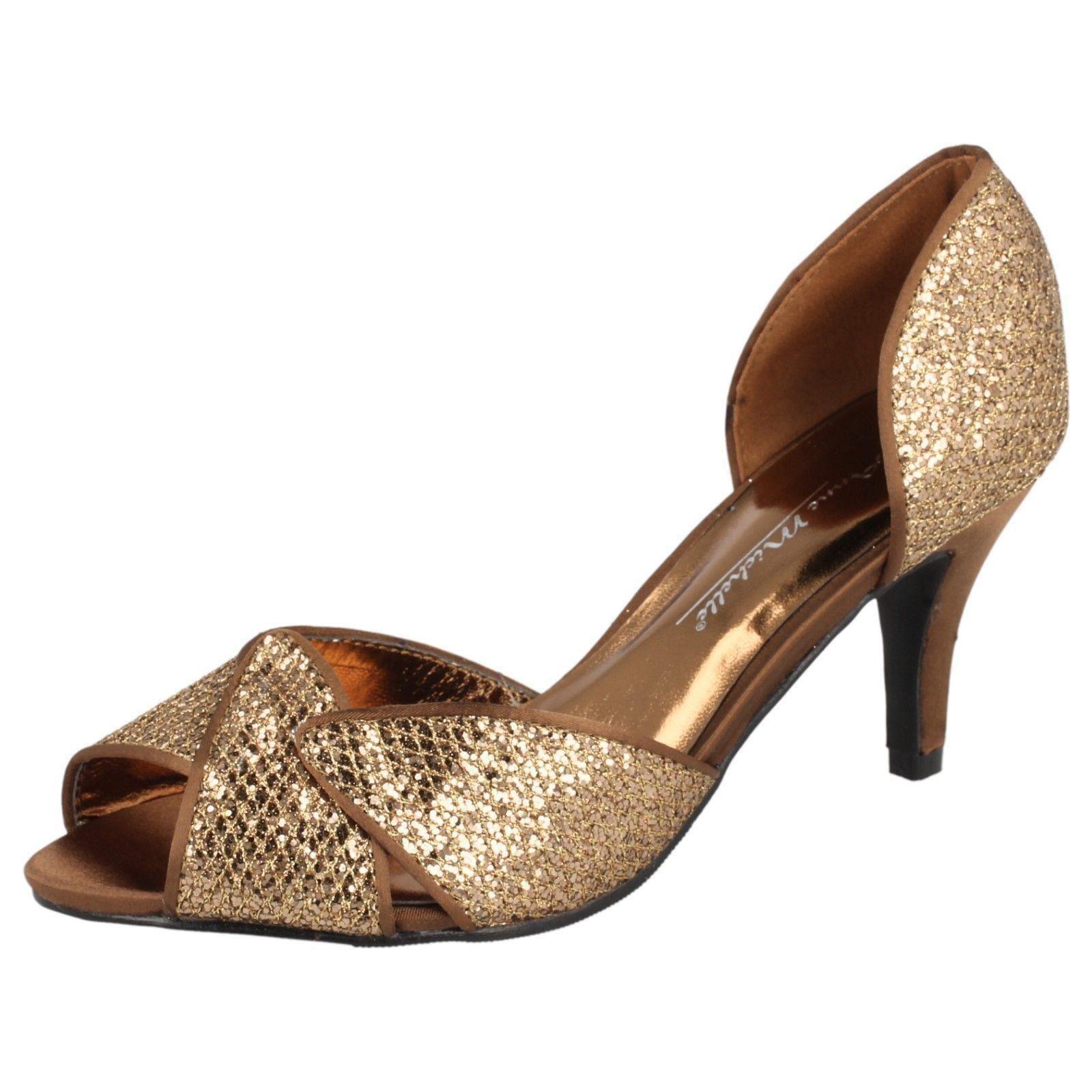 Ladies Anne Michelle Glitter Evening Shoes F10309 K Bronze UK 3 ...