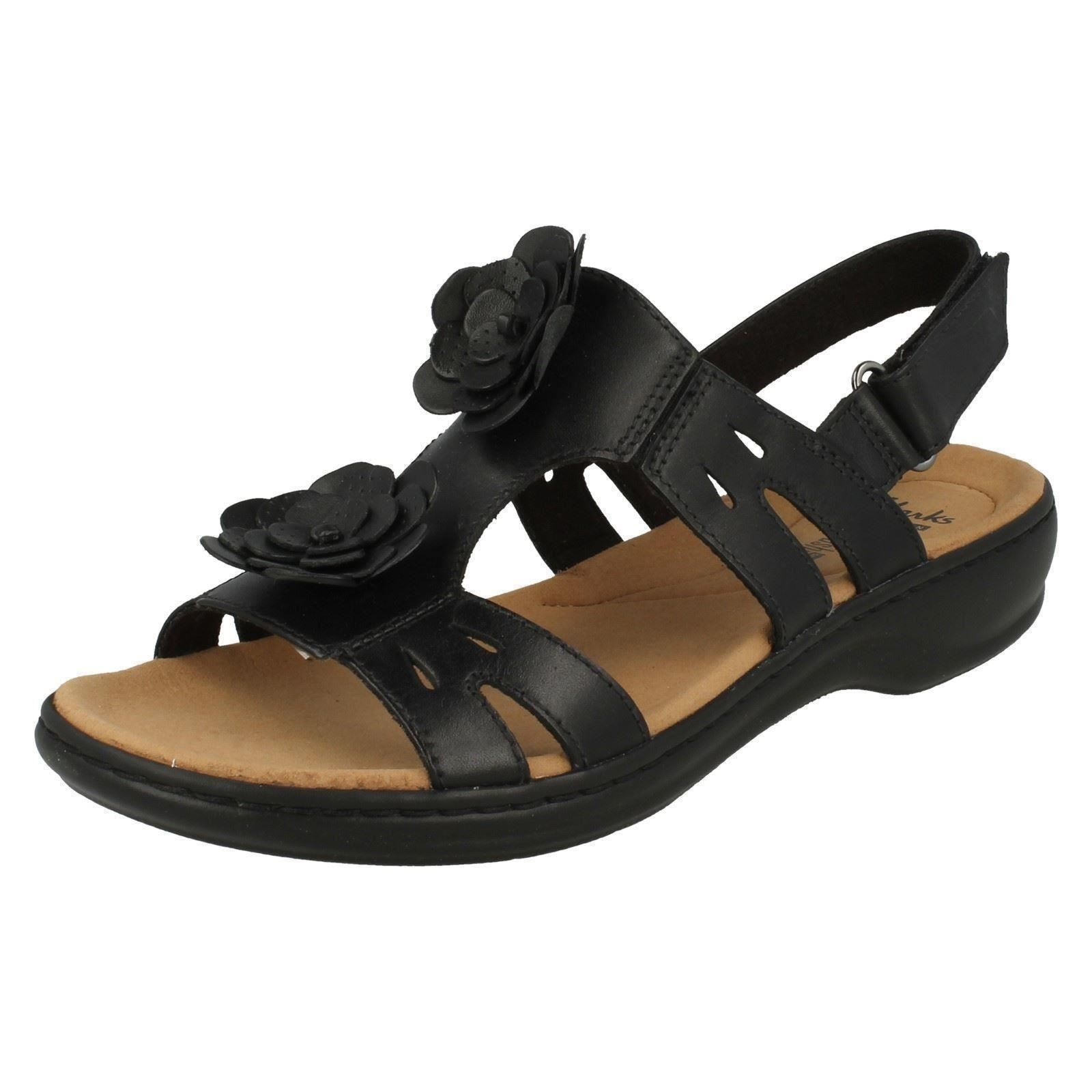 8a0b39930cf Ladies Clarks Flower Detailed Sandals Leisa Claytin UK 3.5 Black Leather D.  About this product. Picture 1 of 9  Picture 2 of 9 ...