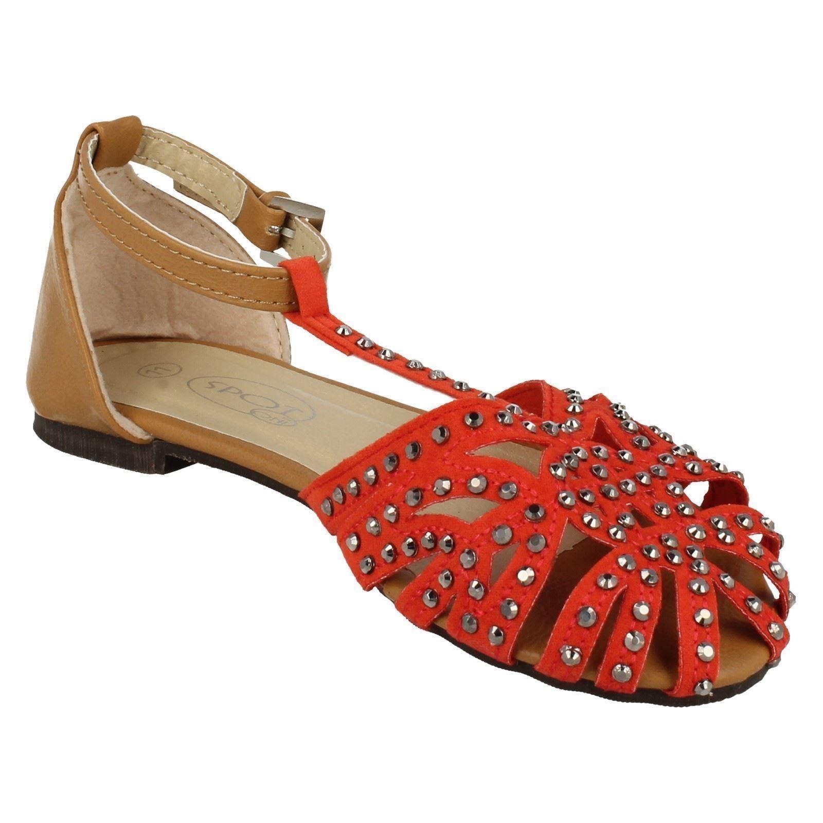 Girls Spot On H0120 T-Bar Sandals Label ~ K