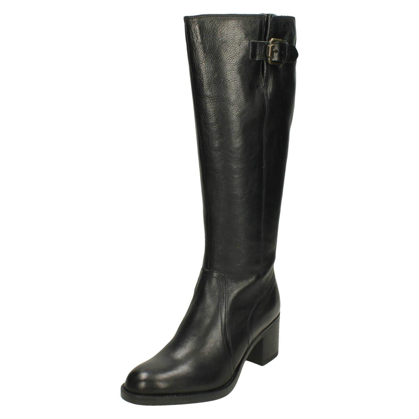 Ladies-Clarks-Heeled-Knee-High-Long-Leather-Boots-